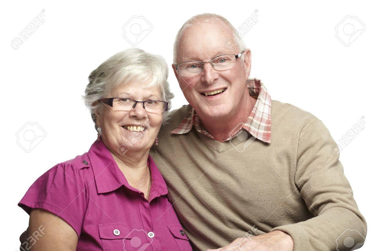 Portrait of senior couple smiling on white background Stock Photo - 14615948