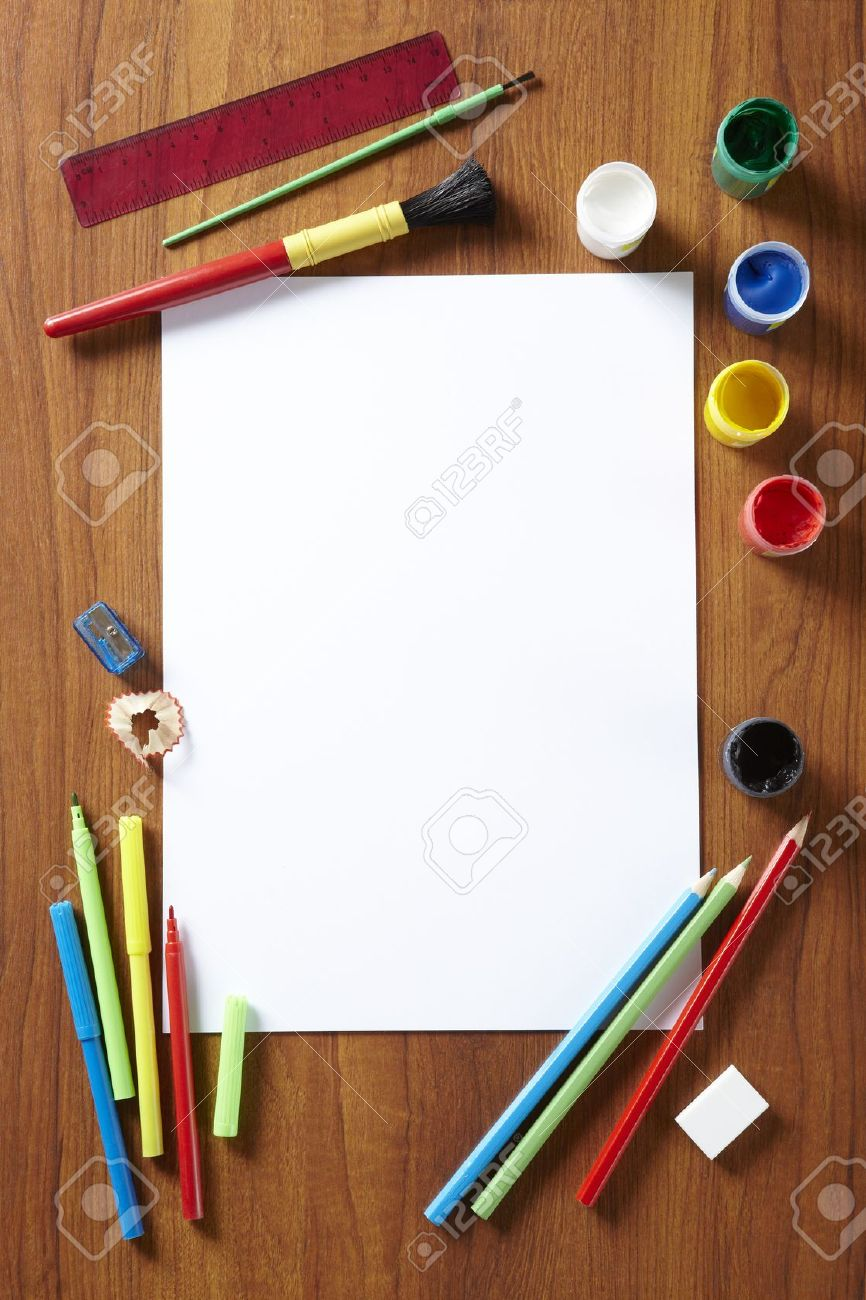 Back to School pupils art pad paints pencils and pens on wooden school desk from above Stock Photo - 14690618