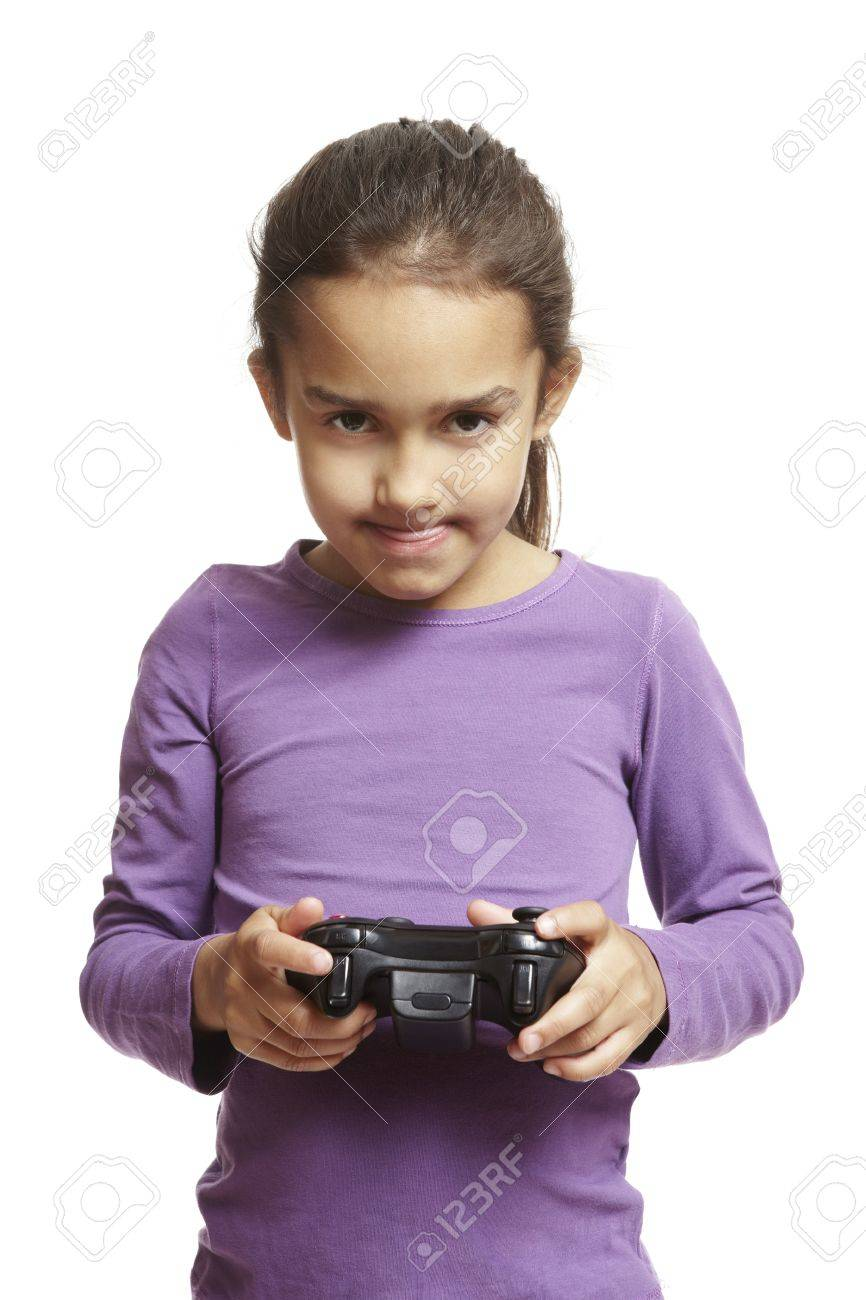 Phenomenal 8 Year Old Girl Playing Games Console Holding Controller On White Hairstyle Inspiration Daily Dogsangcom