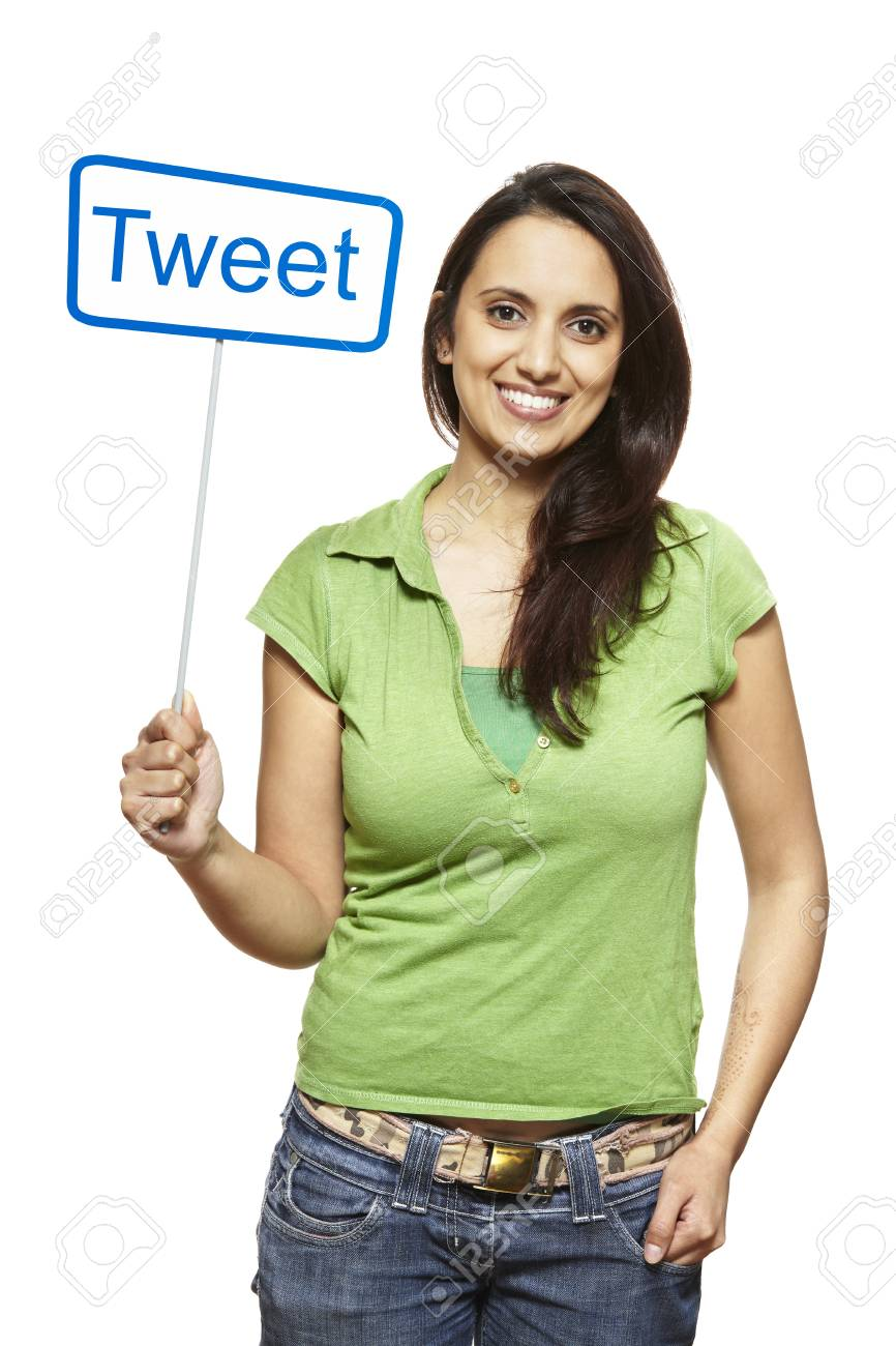 Young asian woman holding a social media sign smiling on white background Stock Photo - 18919395