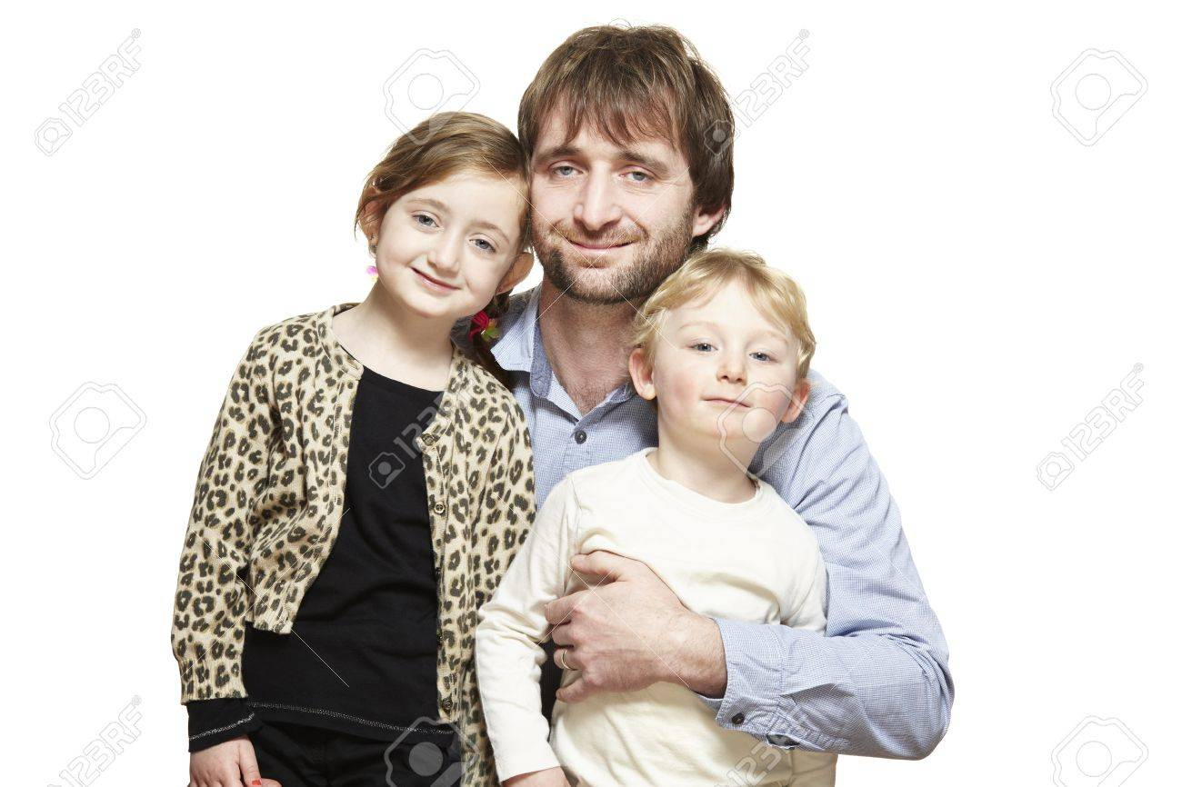 Dad son and daughter family group smiling on white background stock photo 19632656