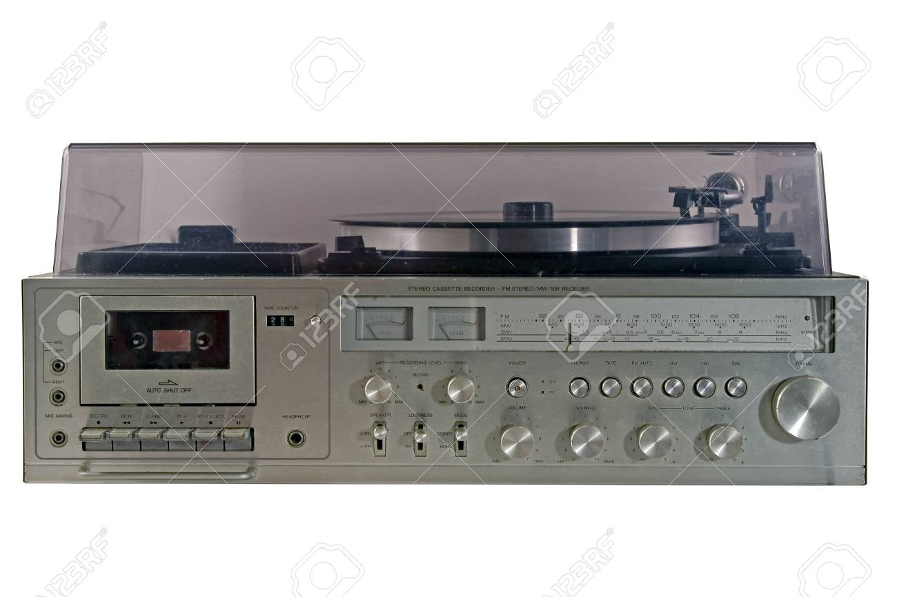 Retro stereo with radio and record player Stock Photo - 2516969