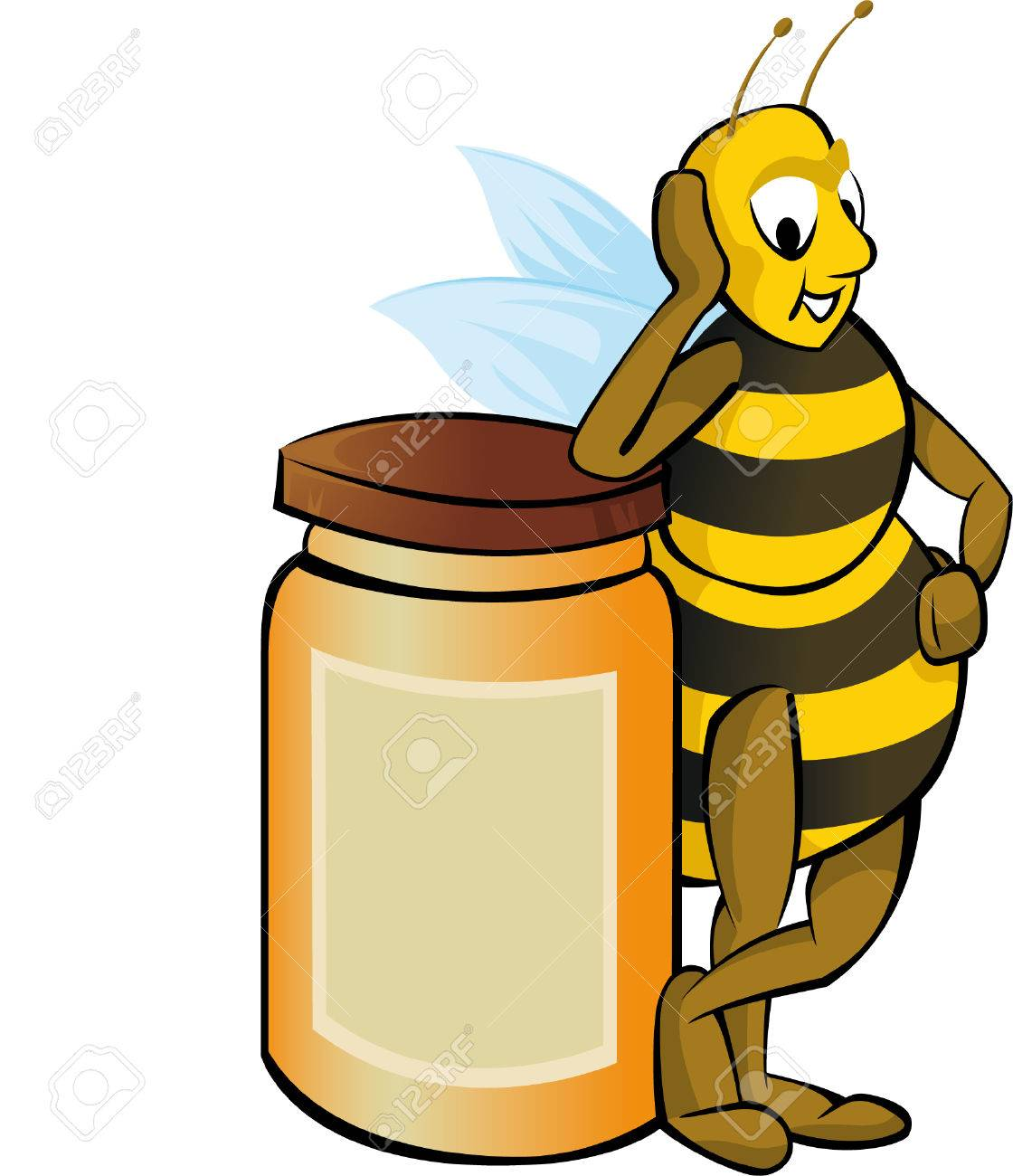 Honey bee with honey container Stock Vector - 2689936