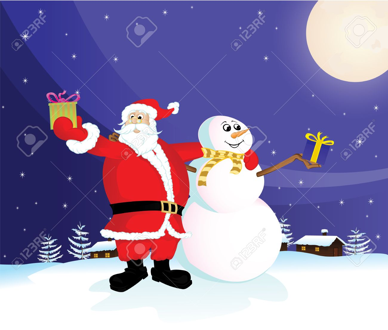 Claus Snowman Santa Claus And Snowman With