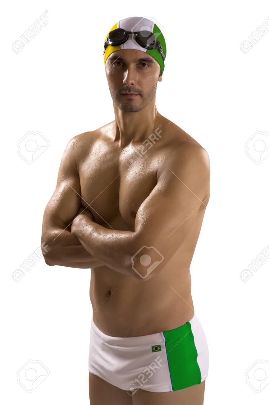 Con Blanco Traje Uniforme Nadador Profesional Fondo Brasil Hombre Retrato De En Baño; Sobre IbgY7f6yvm