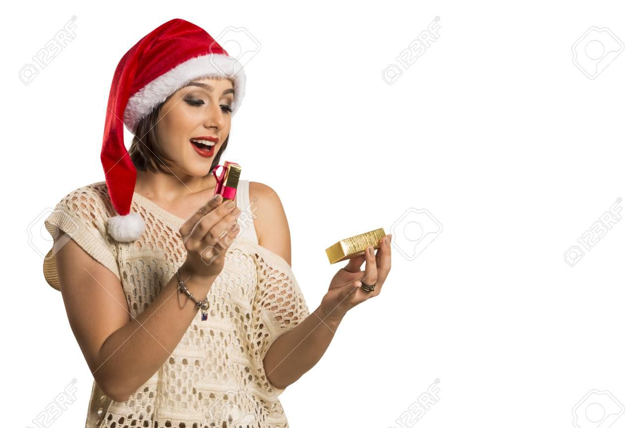 Weihnachtsgeschenk - Eine Frau Eröffnung Geschenk überrascht Und ...