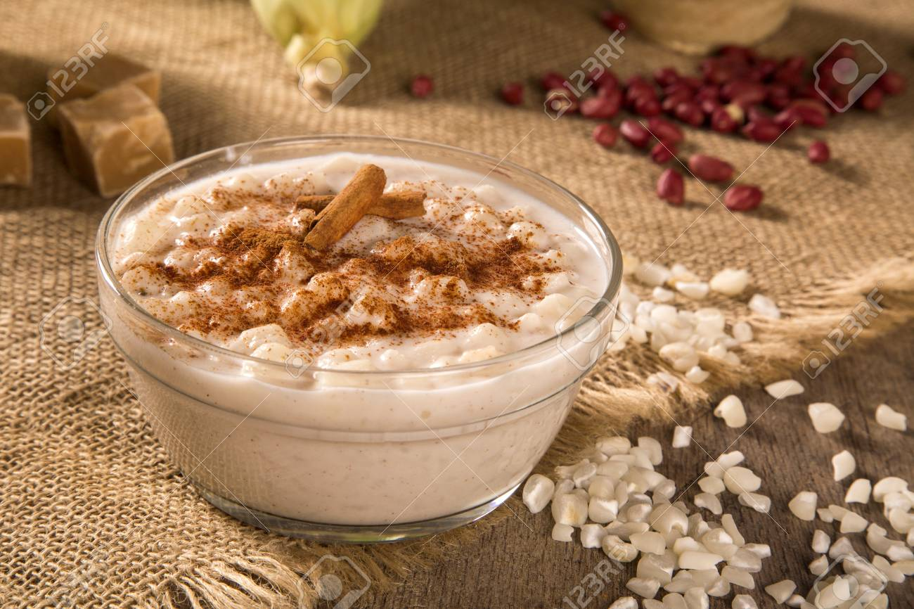 Brazilian Dessert Canjica Of White Corn With Cinnamon In Transparent..  Stock Photo, Picture And Royalty Free Image. Image 81418181.
