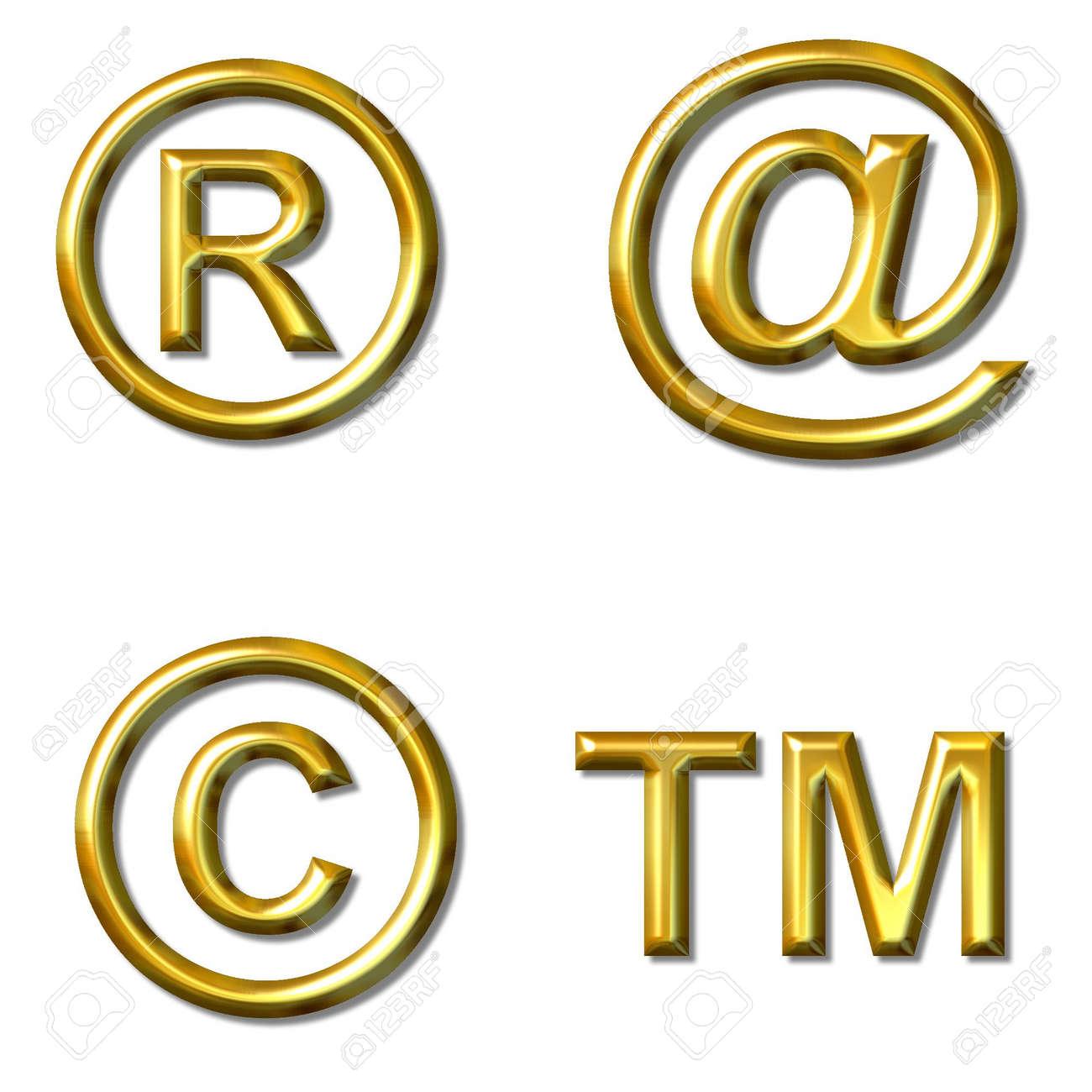Symbols Copyright Tm Registered Trade Mark 4 In 1 Stock Photo