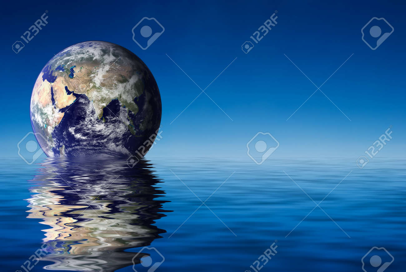 Earth like planet rise over ocean Stock Photo - 1638383
