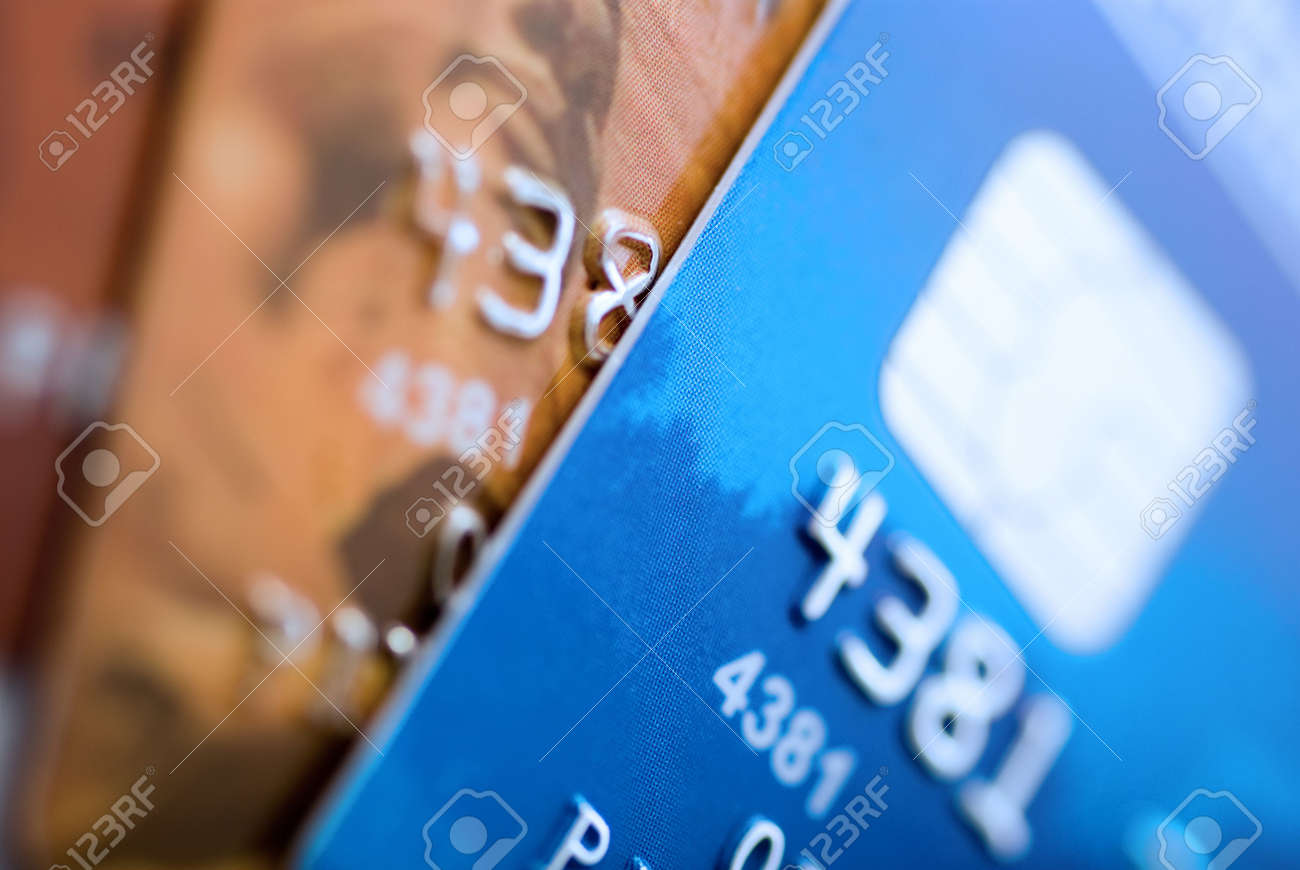 Credit cards background. Small deep of focus Stock Photo - 2052558