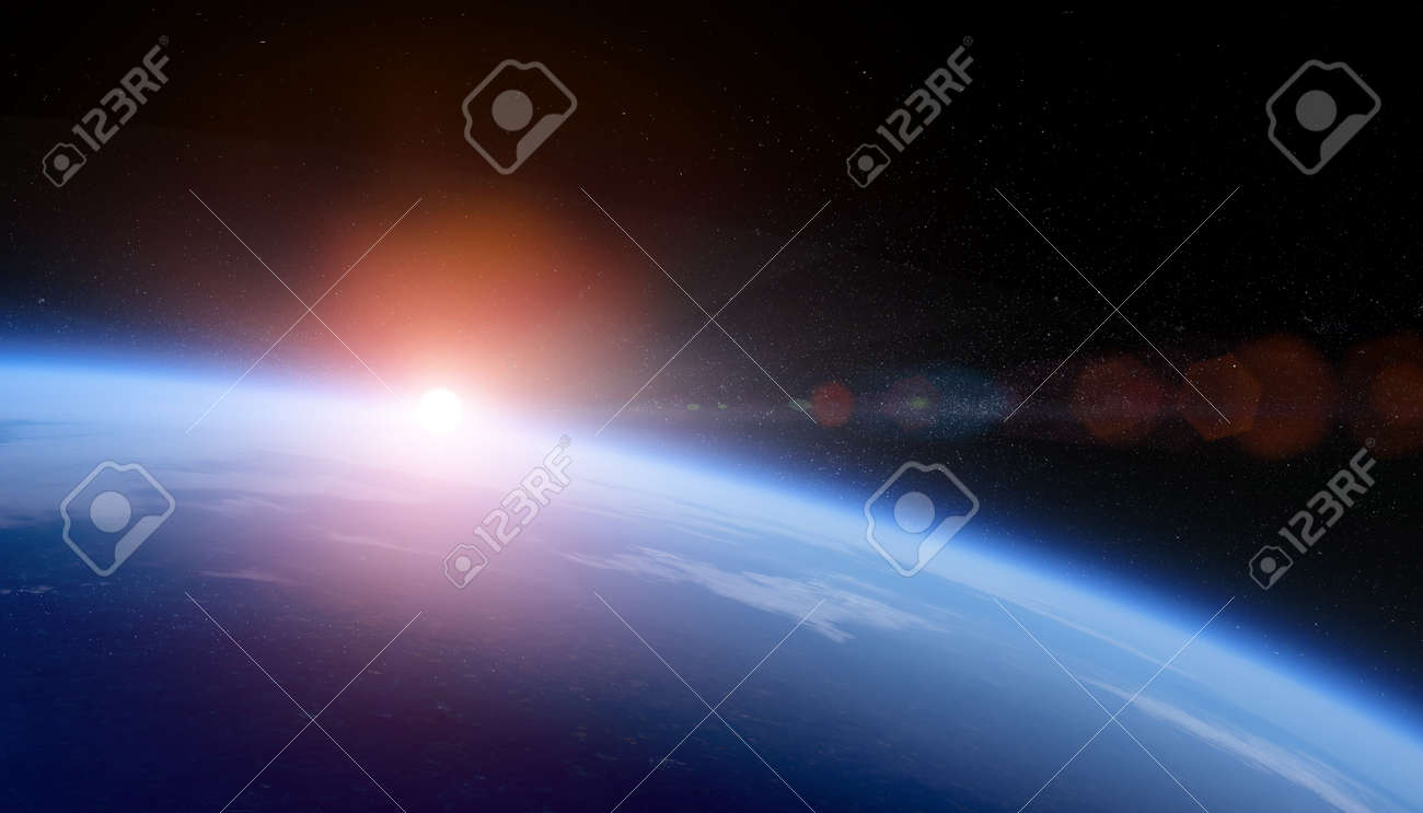 Sunrise over space Earth view from orbit with stars field. - 131429269