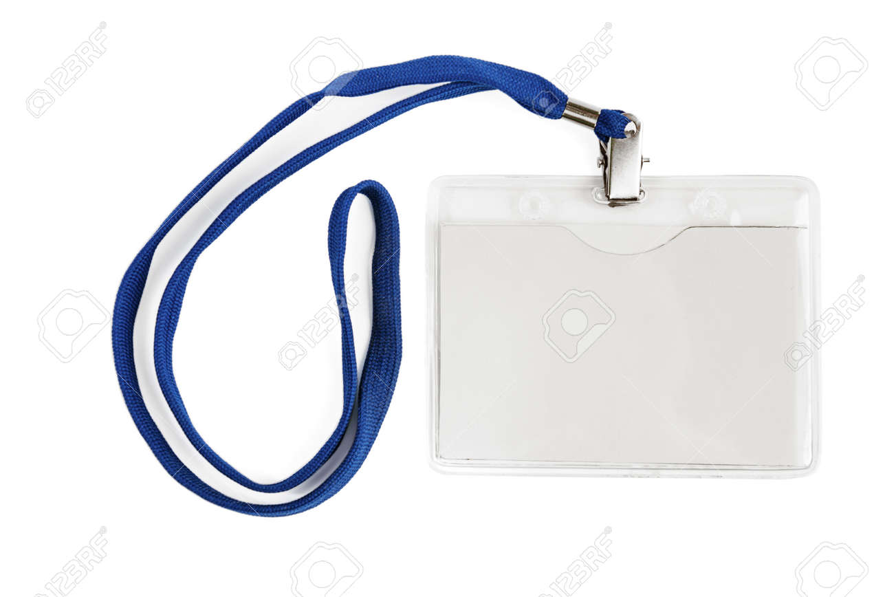 Badge identification white blank plastic id card isolated with clipping path - 131543614