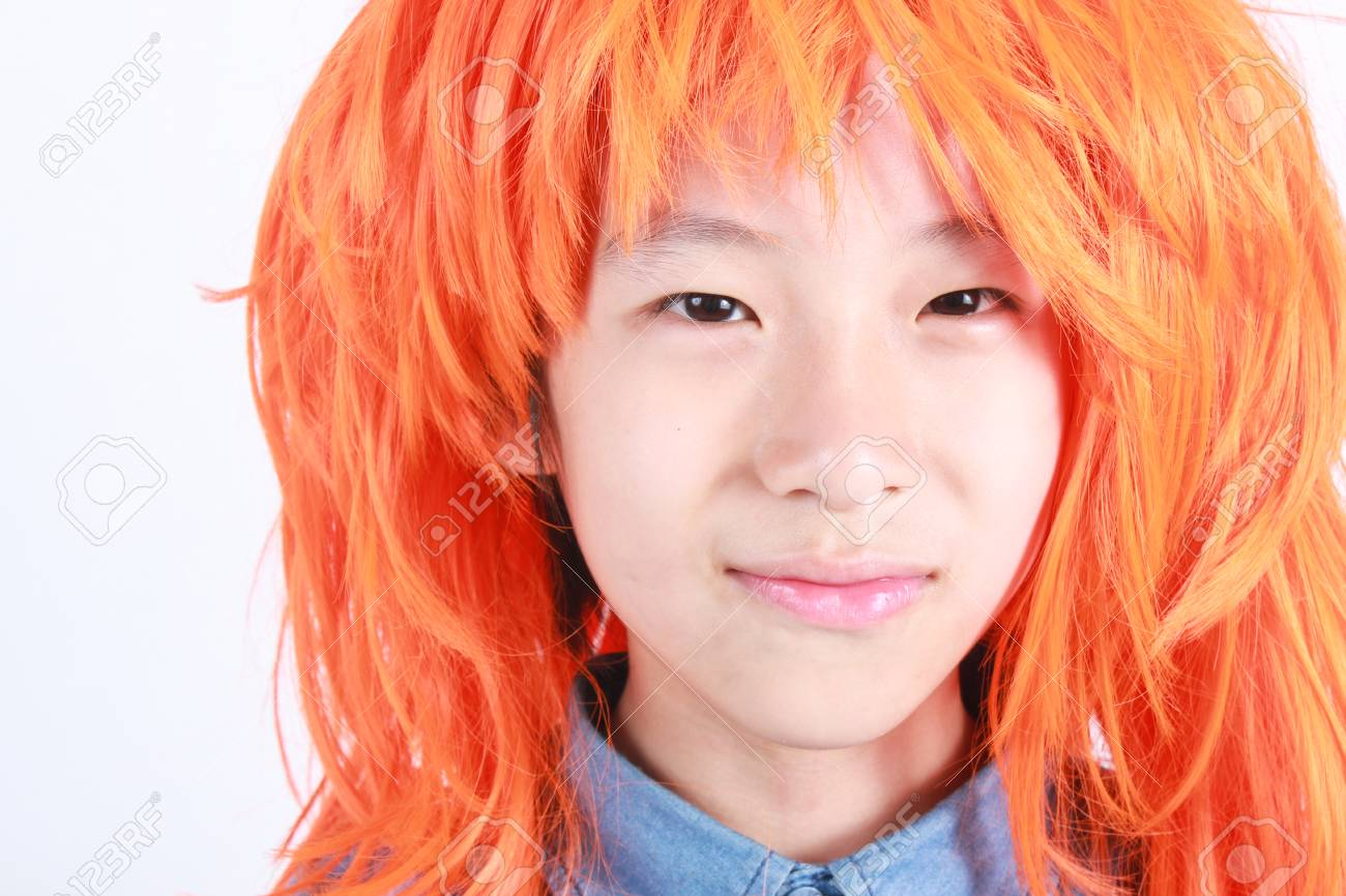 Asian boy with orange hair