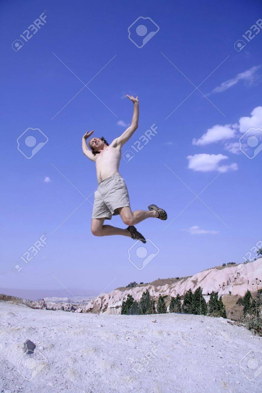 healthy happy man jumping in joy of life Stock Photo - 3927977