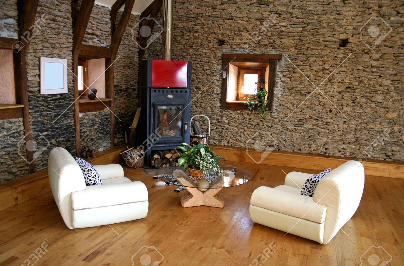 Cozy Modern Living Room With Fireplace Stock Photo   3966659