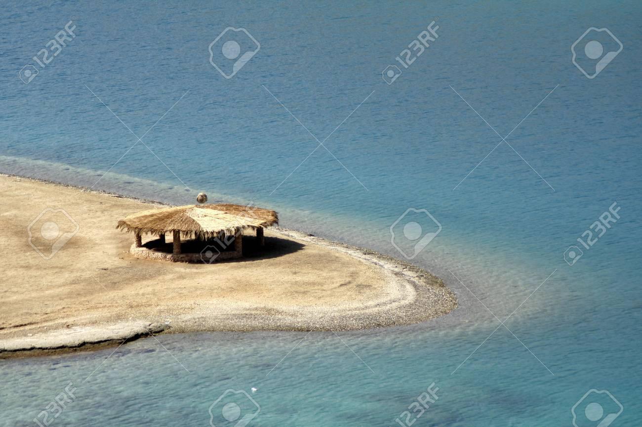 reed hut on beach, red sea, sinai, egypt Stock Photo - 3930789