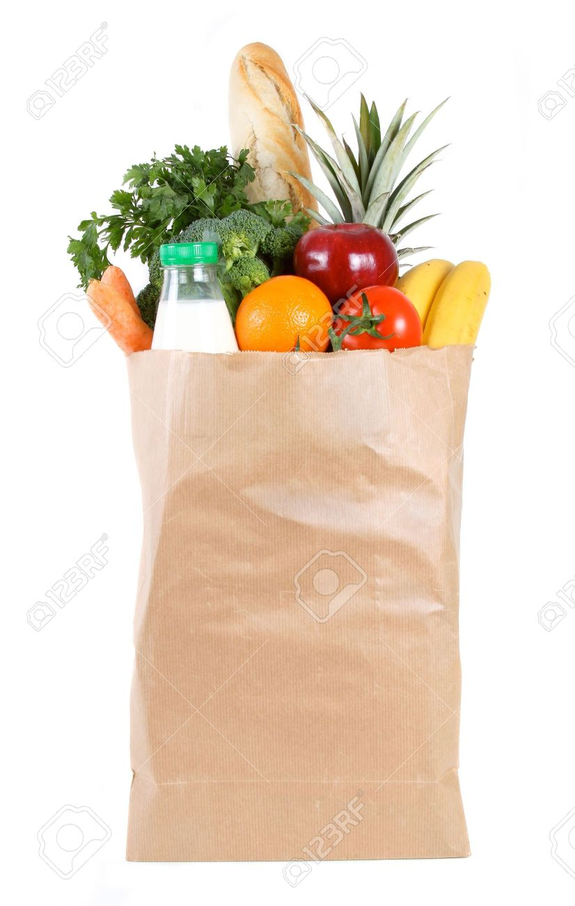 Brown Paper Shopping Bag Filled With Fresh Fruit And Vegetables ...