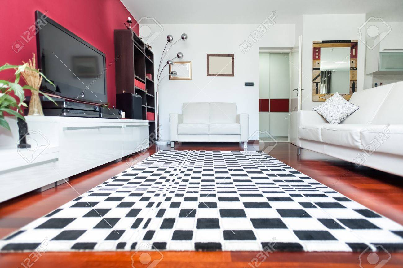 Modern Living Room With Sofa And Checkered Carpet Stock Photo ...