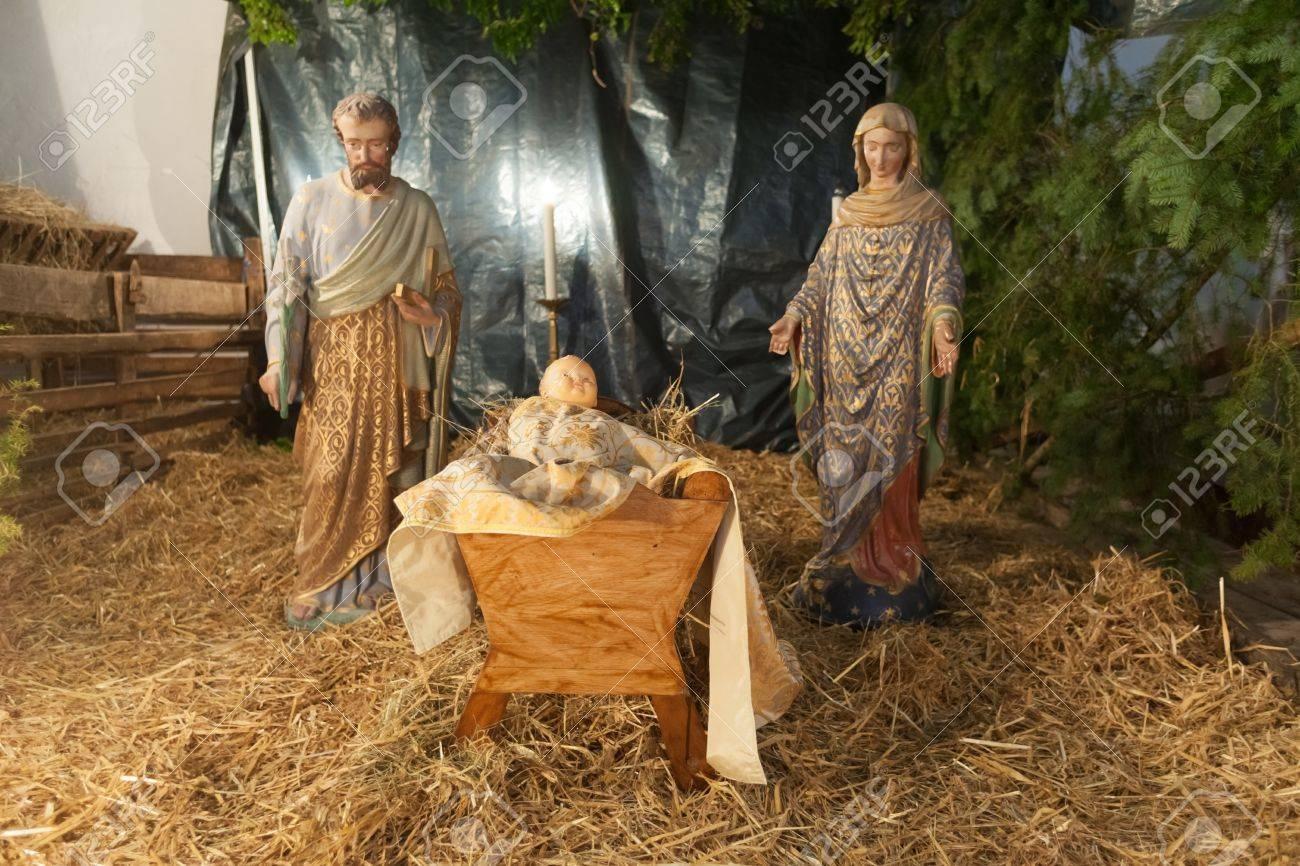Baby jesus mary and joseph nativity scene Stock Photo - 17456542