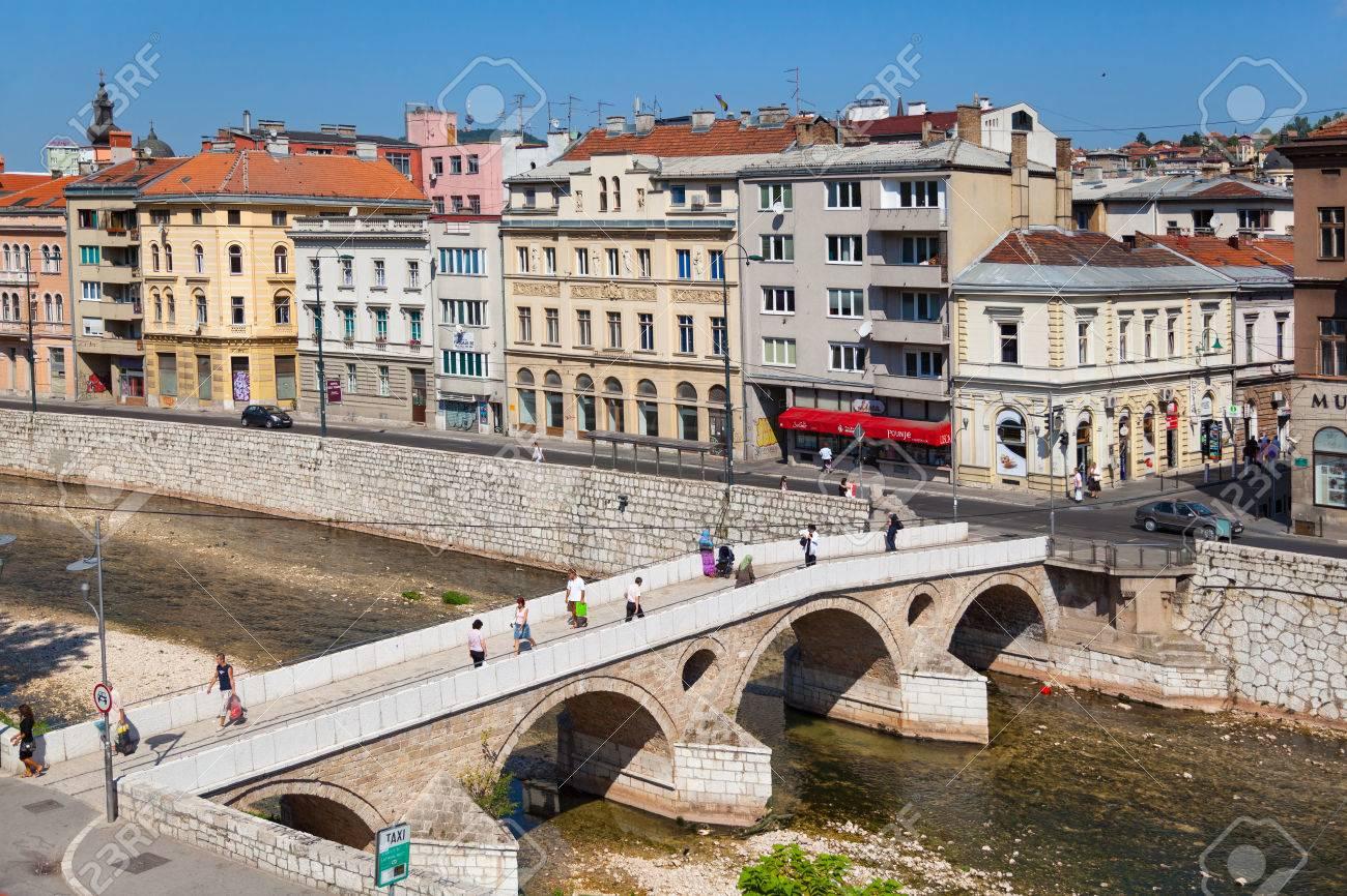Sarajevo Bosnia And Herzegovina Aug 11 Tourists On Latin