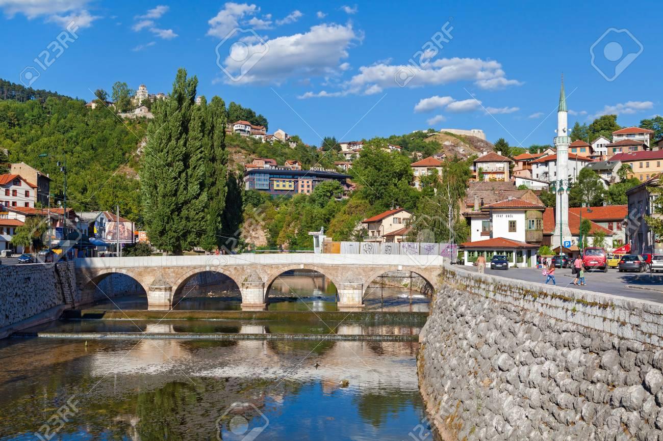 Sarajevo Bosnia And Herzegovina Aug 12 Tourists Near Latin