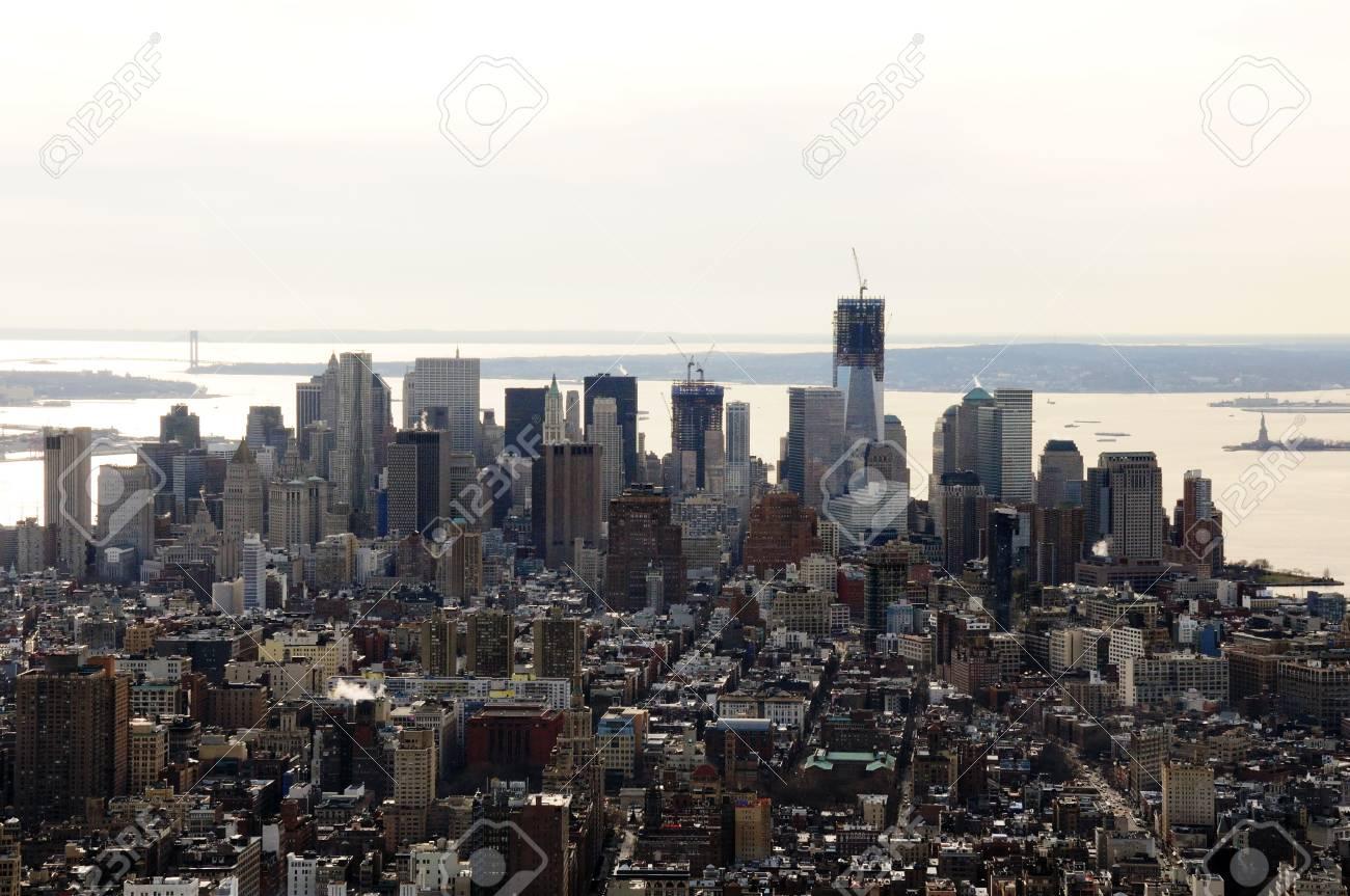 A Veiw of Downtown Manhattan with one World Trade Center under Down Town Manhattan including One World Trade Tower Under Construction Stock Photo - 12408275