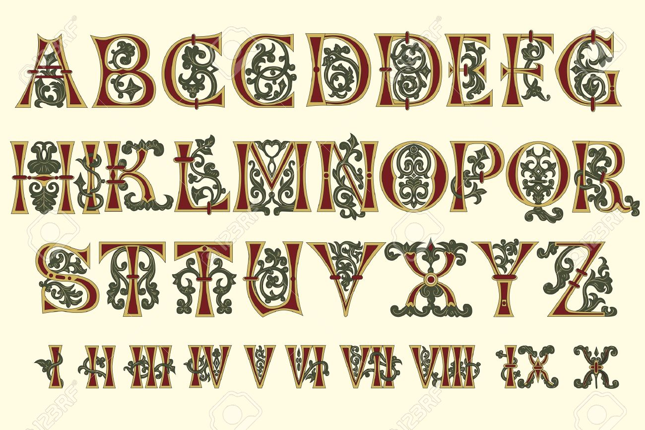 Alphabet Medieval and Roman numerals of the eleventh century - 9801069