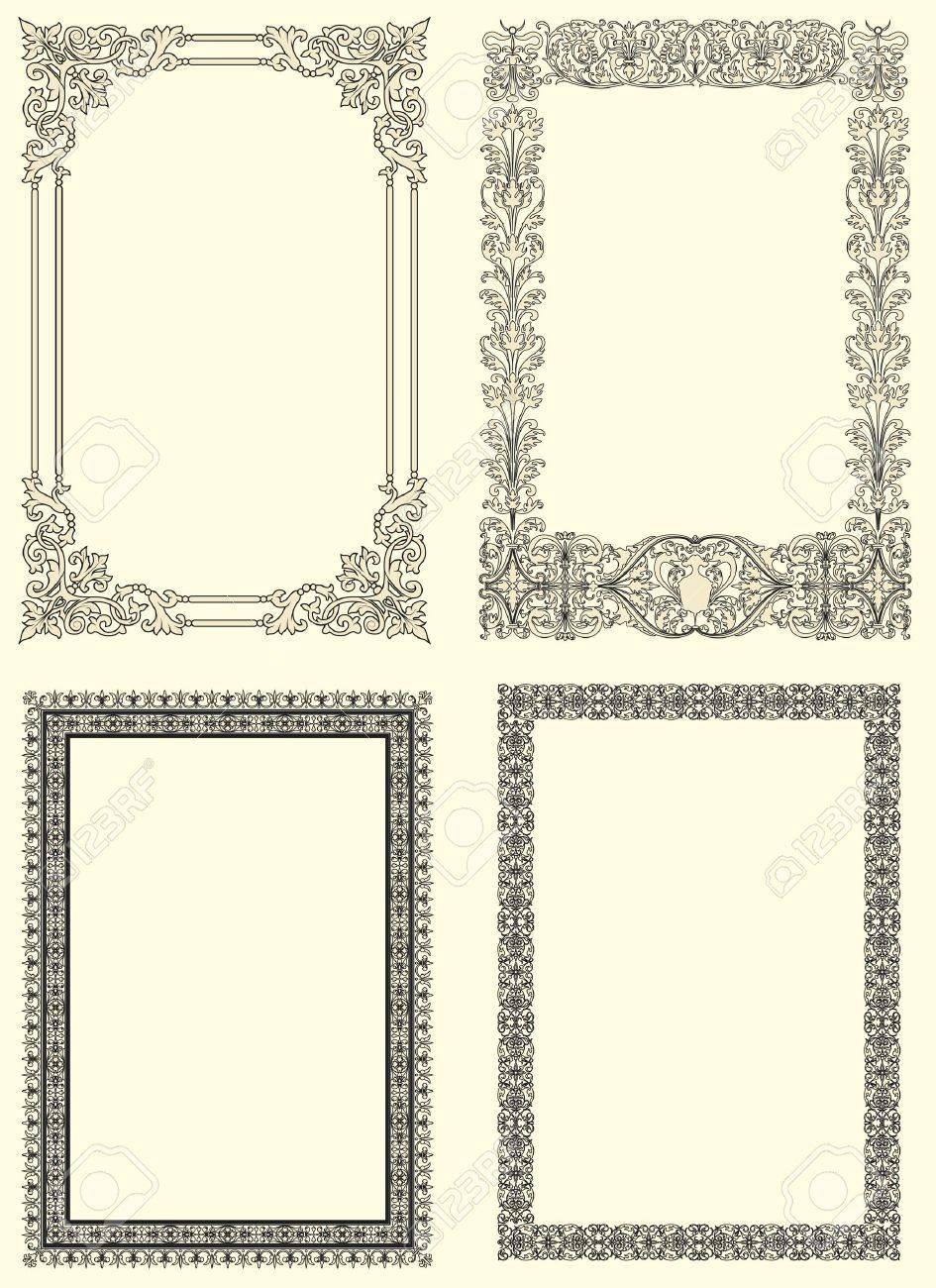 Conjunto De Cuatro Vintage Marco Ornamental De Estilo Francés Del ...
