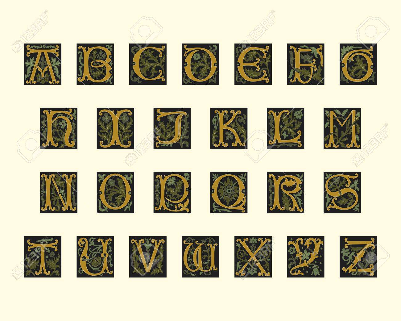 alphabet of early 16th century in editable vector file Stock Vector - 10751532