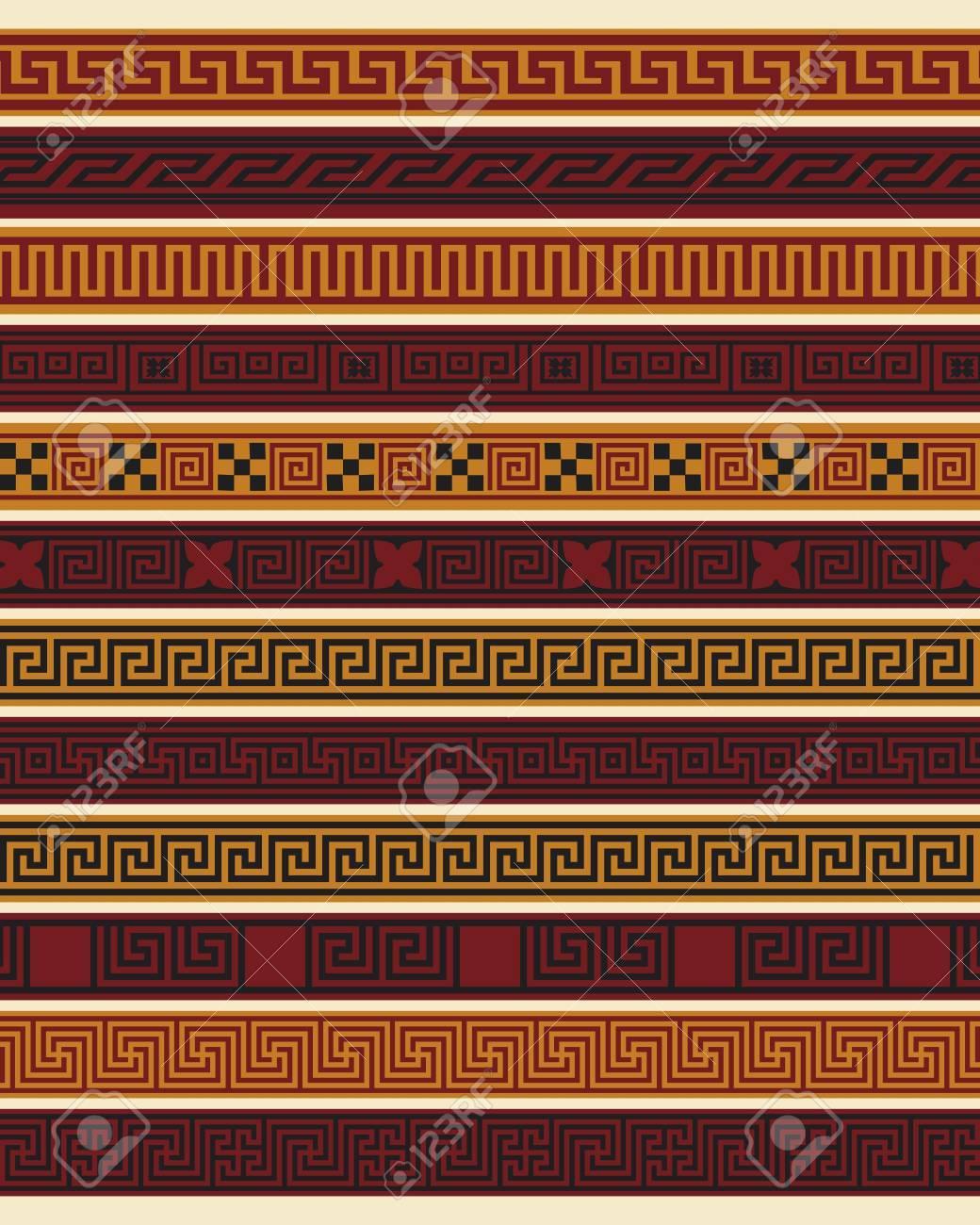 Set of ten greek borders in editable vector file Stock Vector - 10941451