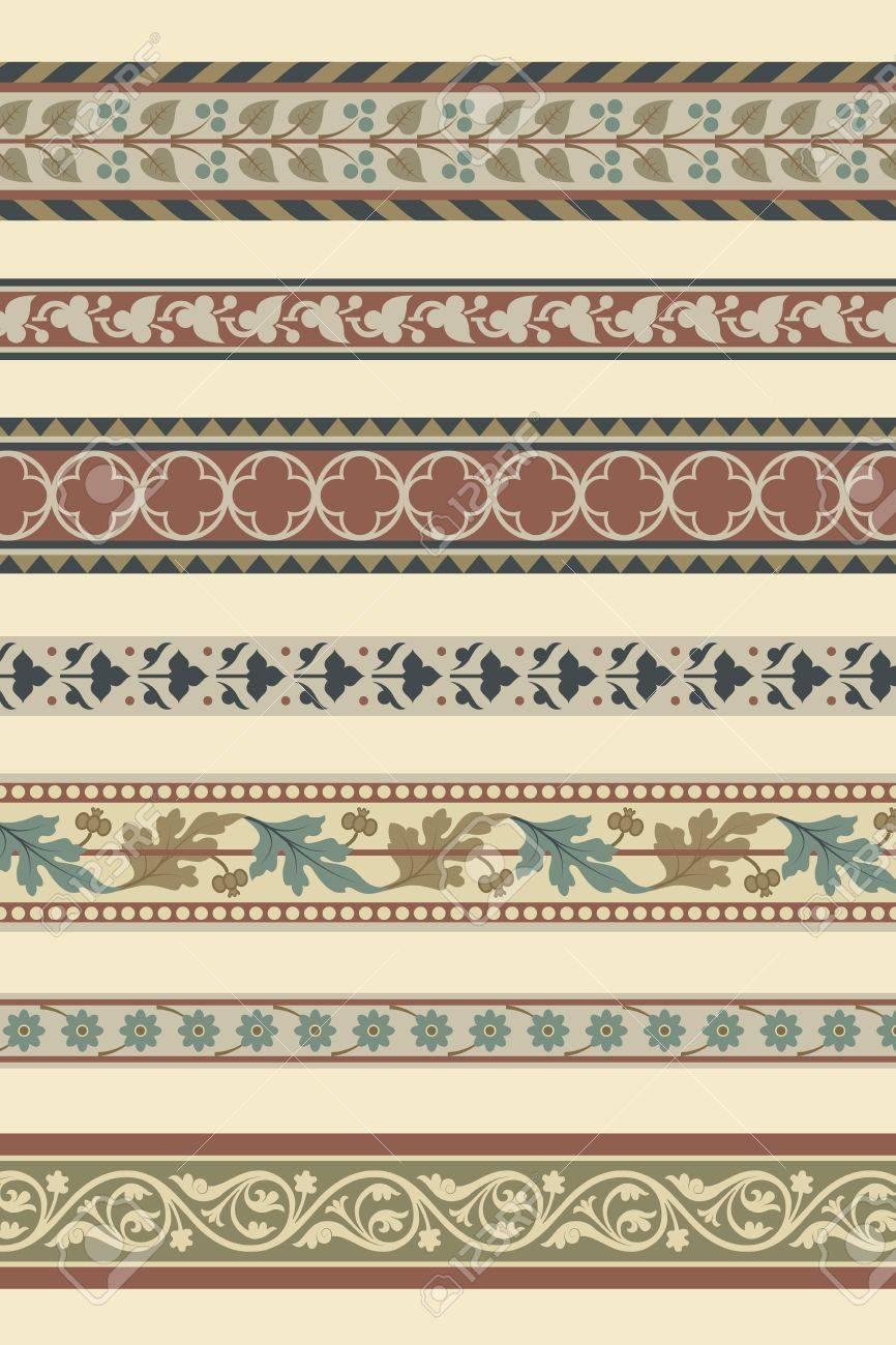 Set of seven decorative borders ornamental in editable vector file Stock Vector - 11157301
