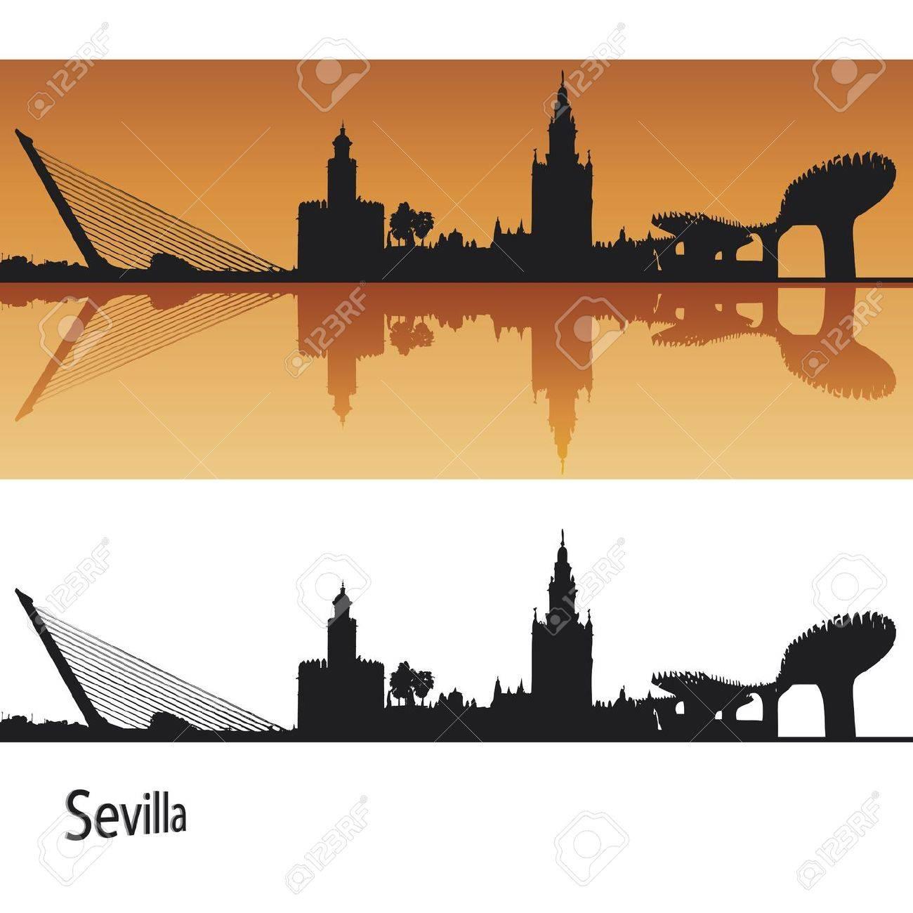 Seville Skyline in orange background in editable vector file Stock Vector - 11157304