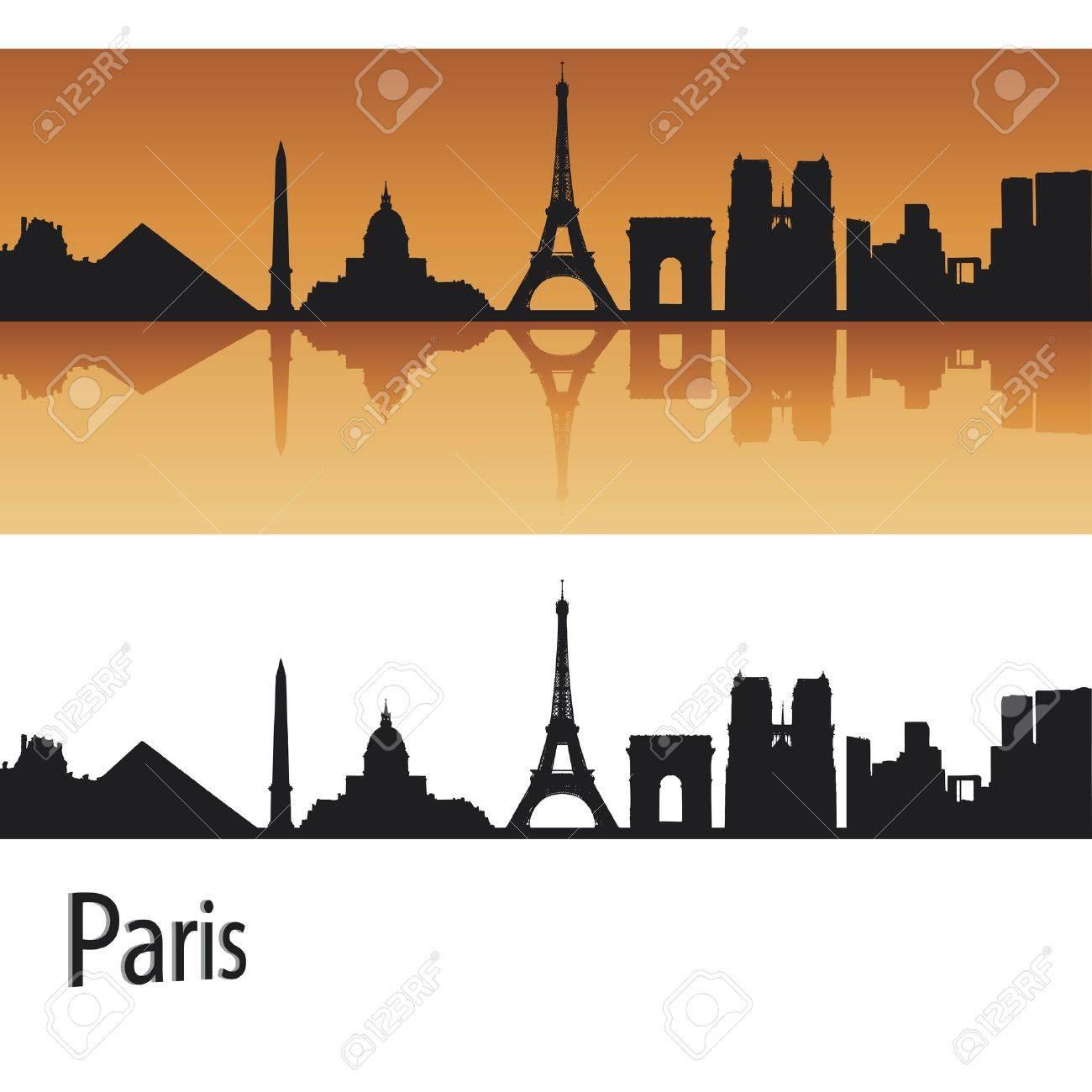 Paris skyline in orange background in editable vector file Stock Vector - 11157305