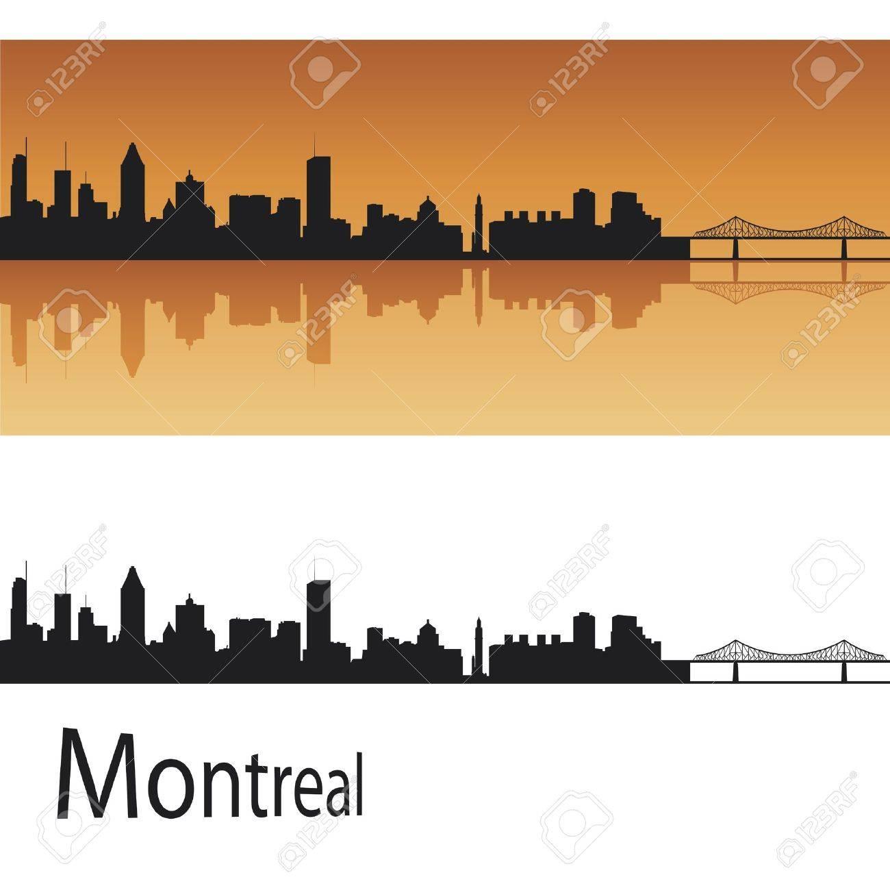 Montreal skyline in orange background in editable vector file Stock Vector - 12902437