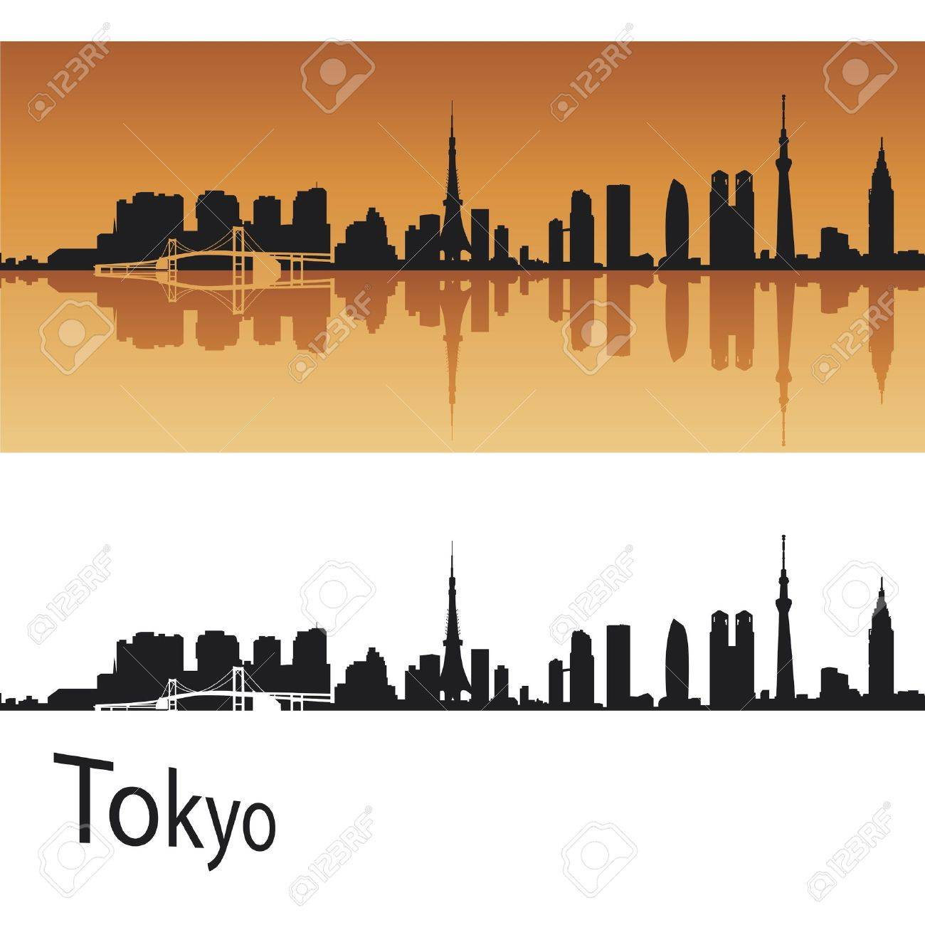 Tokyo skyline in orange background in editable vector file Stock Vector - 12902440