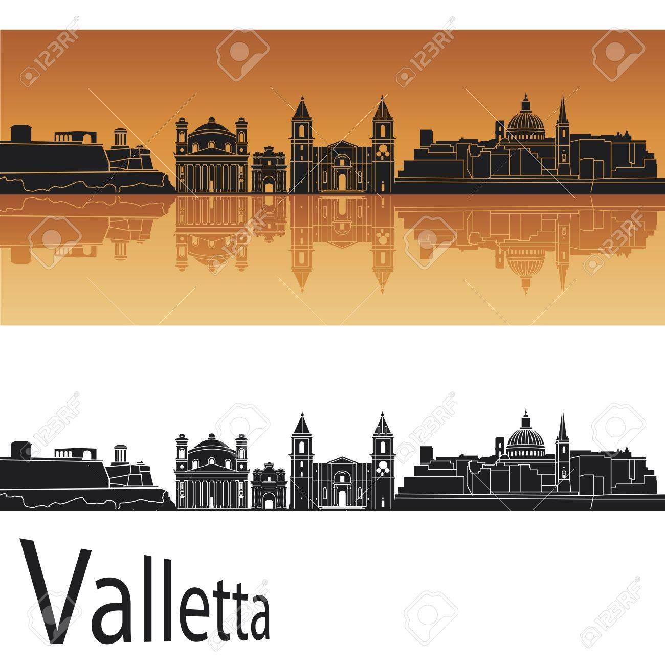 Valletta skyline in orange background in editable vector file Stock Vector - 13696093