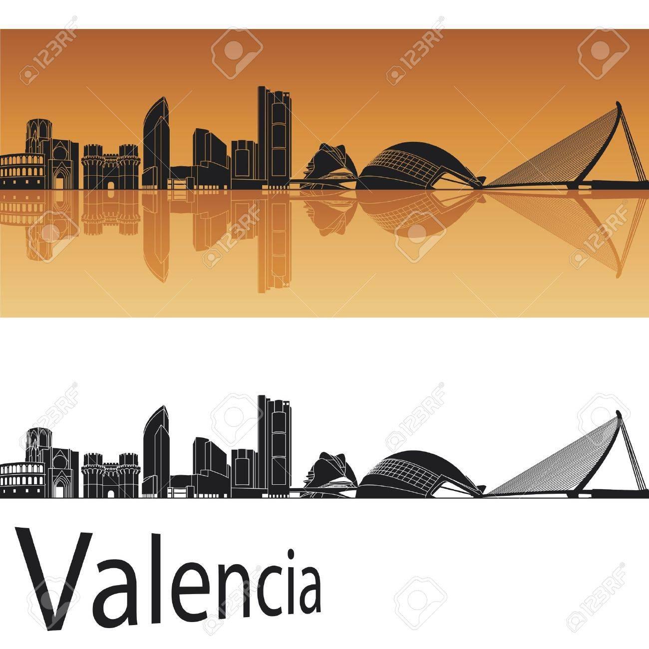 Valencia skyline in orange background in editable file Stock Vector - 13990645