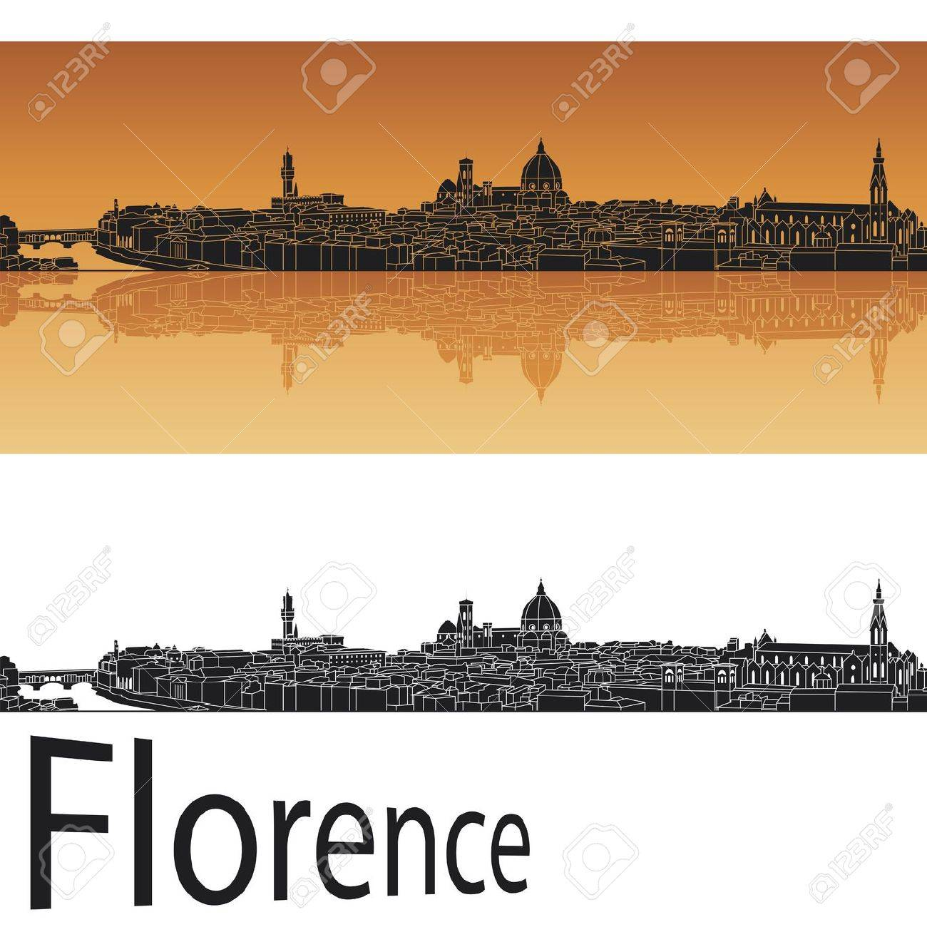 Florence skyline in orange background in editable vector file Stock Vector - 15021877