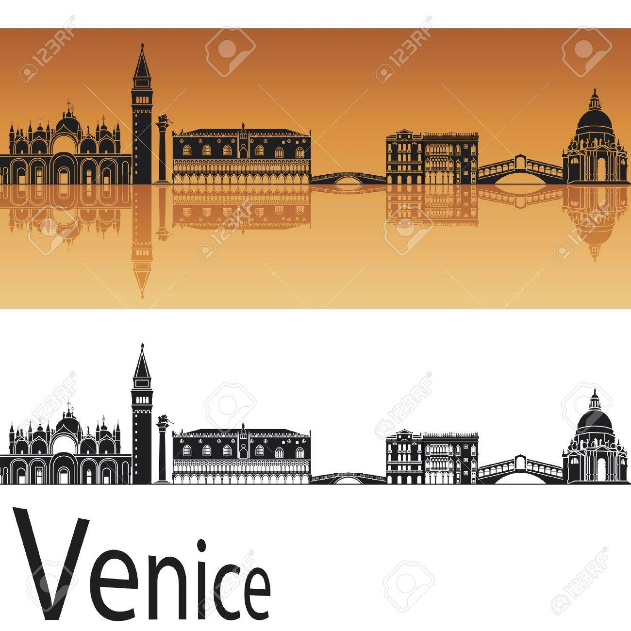 Venice skyline in orange background in editable vector file Stock Vector - 15021898
