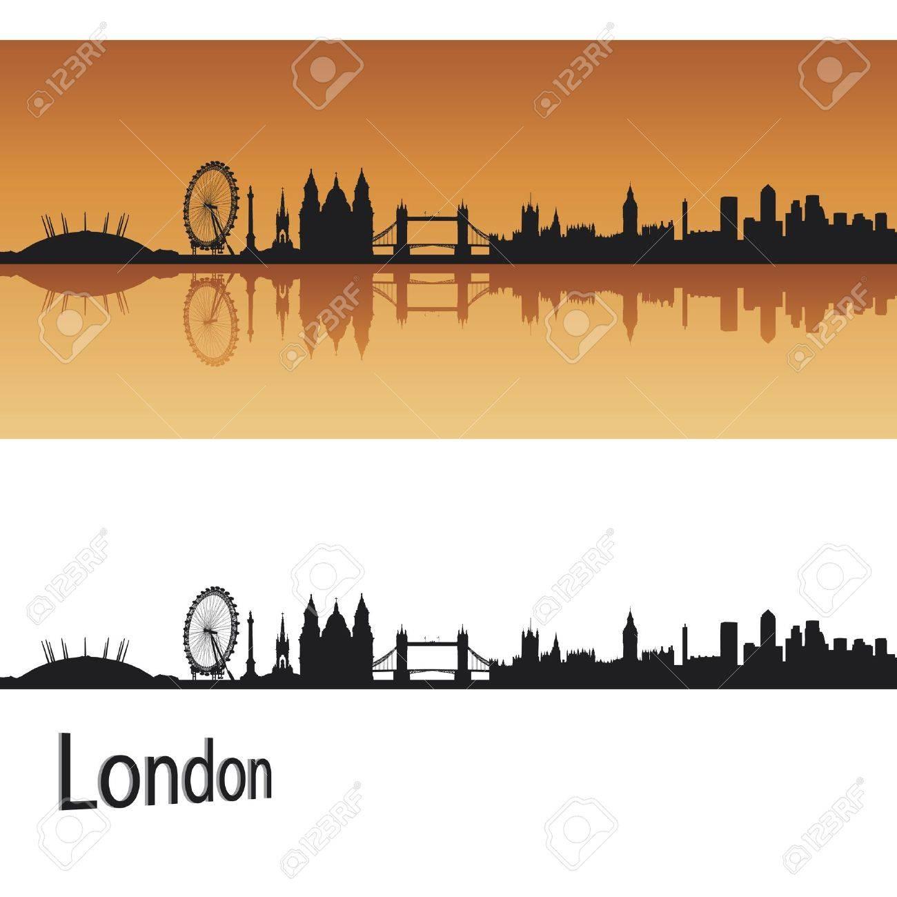 London skyline in orange background Stock Vector - 16687059