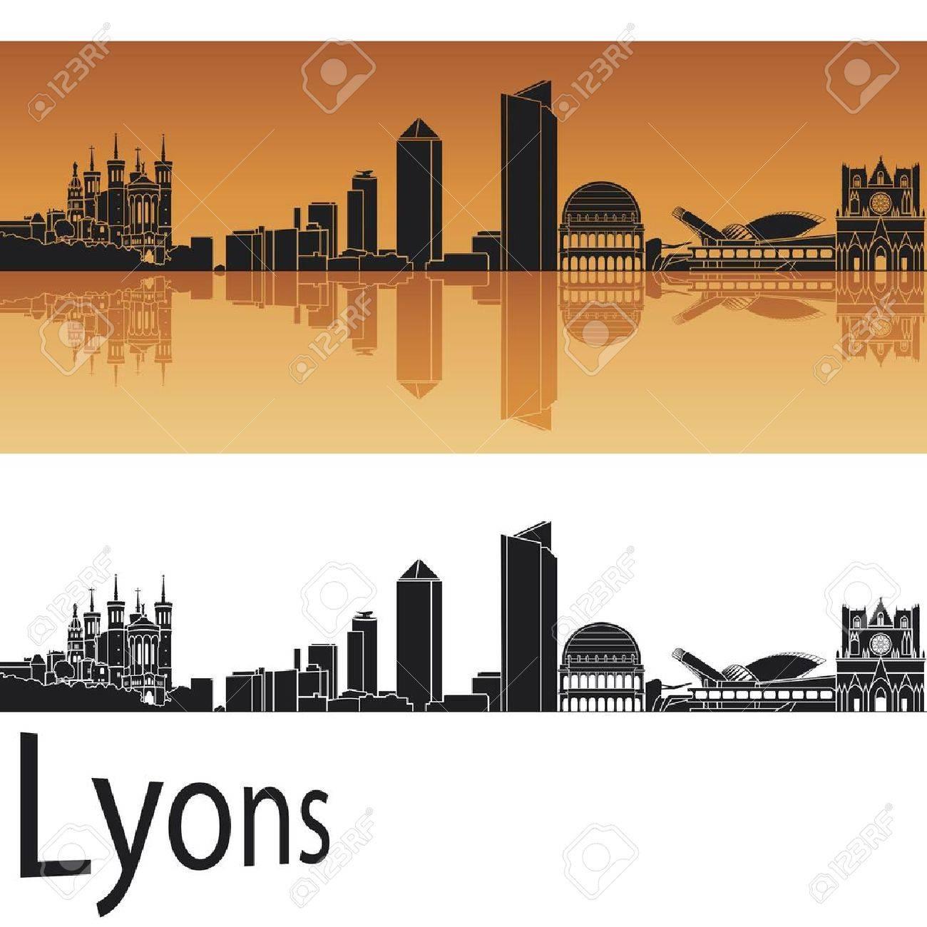 Lyons skyline in orange background Stock Vector - 17497992