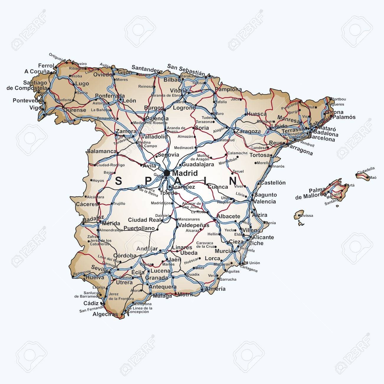 Road Map Of Spain With The Main Cities And Towns Highways And