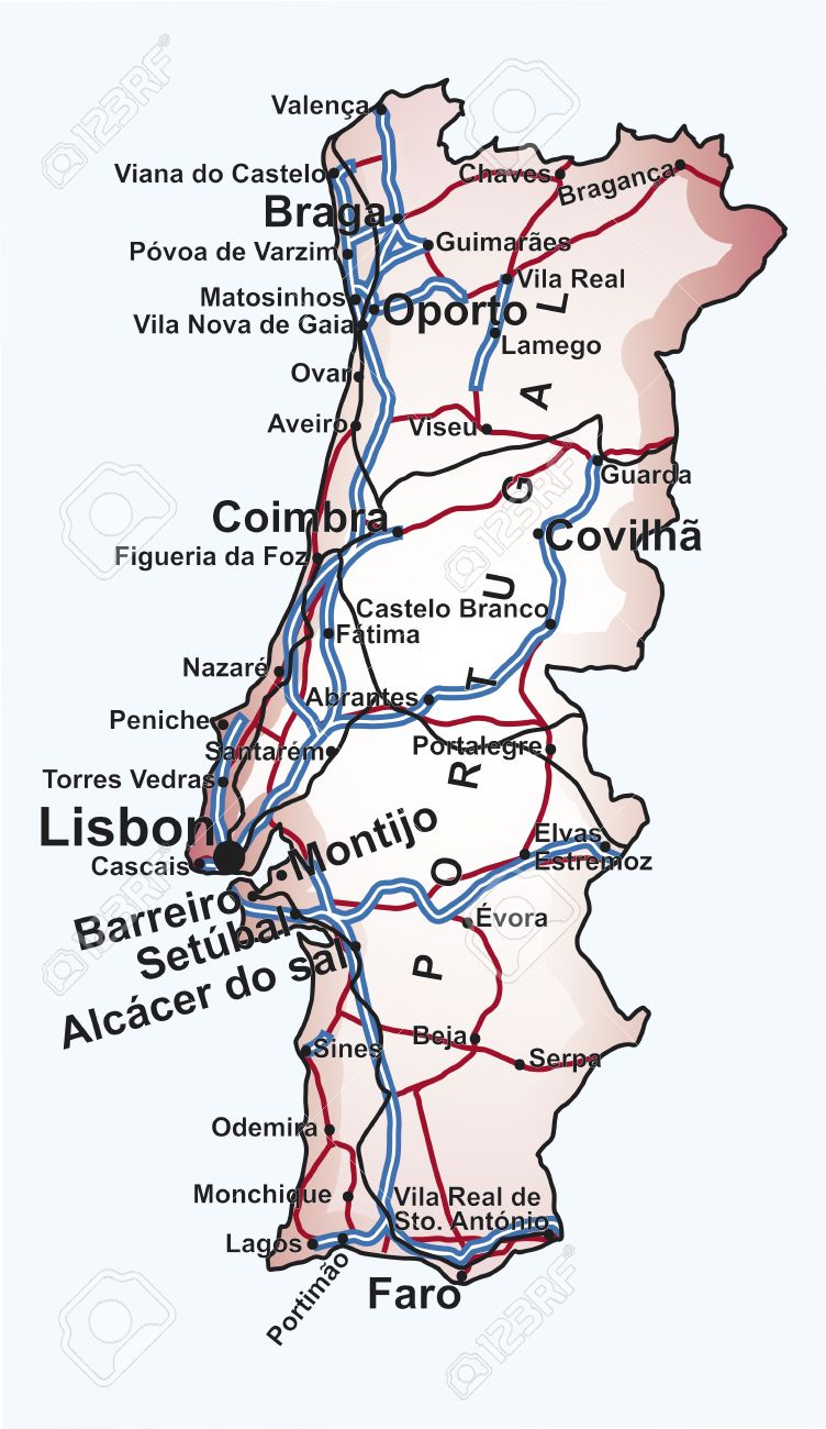 Mapa De Carreteras Portugal.Mapa De Carreteras De Portugal Con Las Principales Ciudades Y Pueblos Carreteras Y Lineas De Ferrocarril En Archivo Vectorial Editable