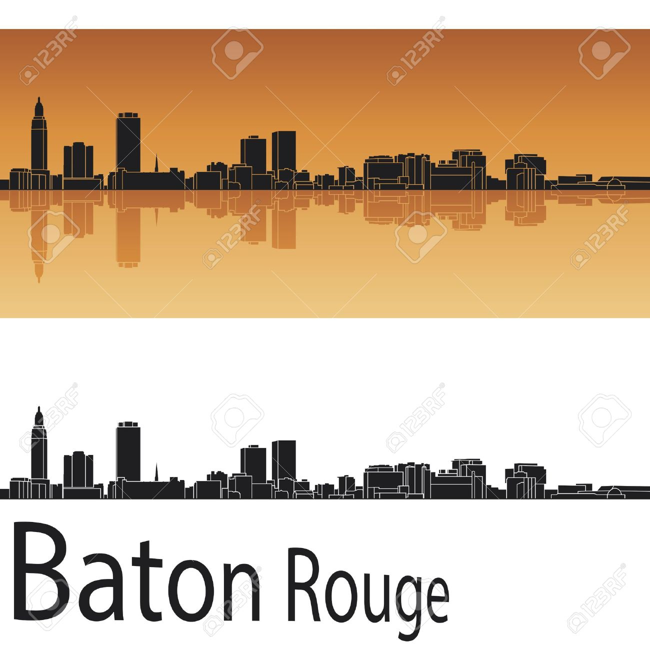 Baton Rouge skyline in orange background in editable - 20352160