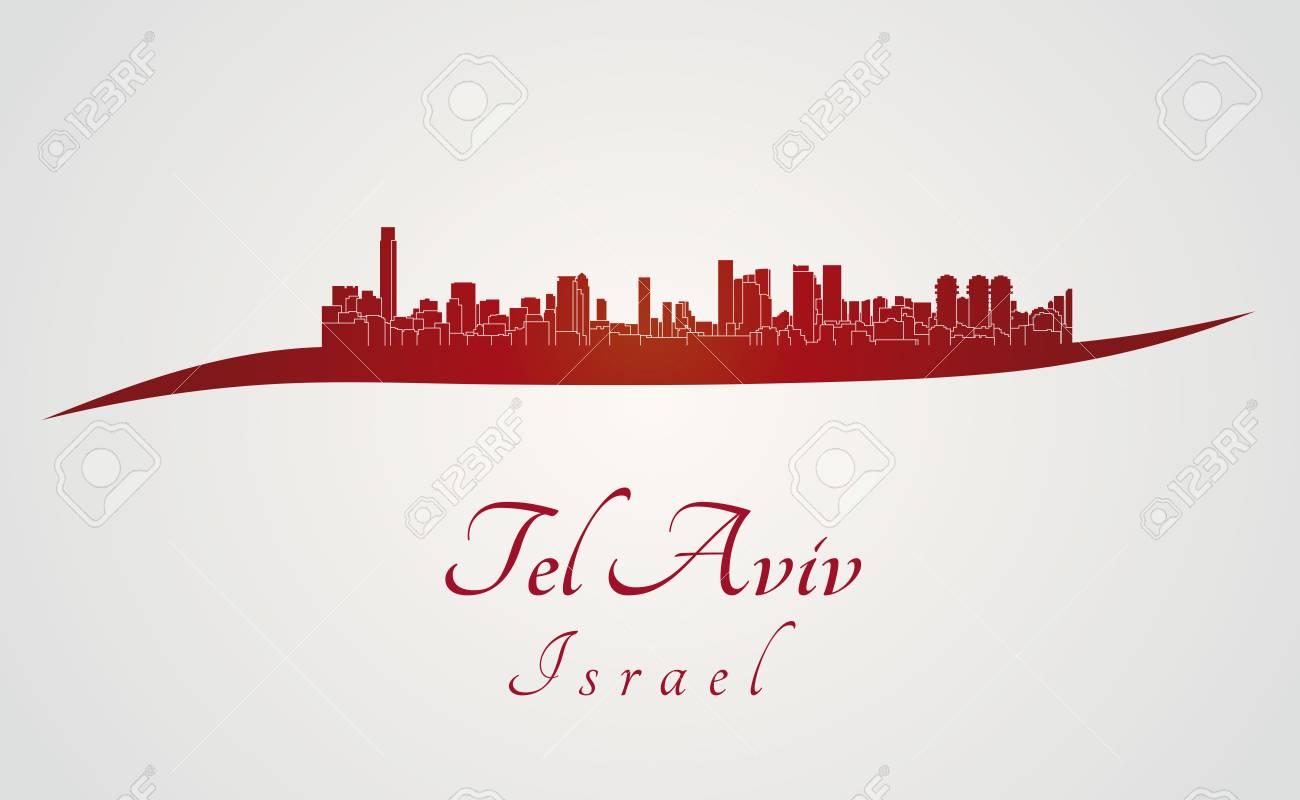 tel aviv skyline in red and gray background in editable vector