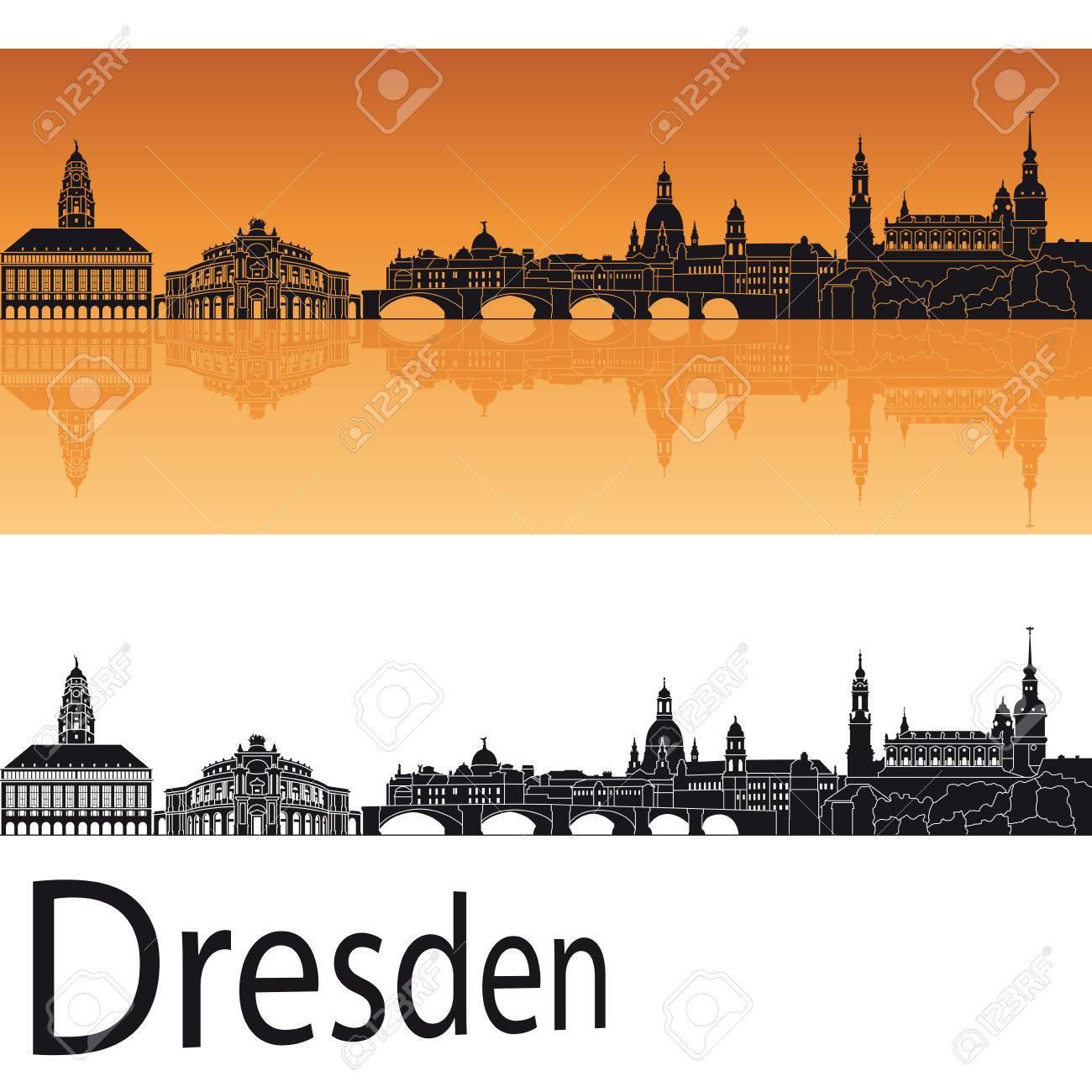 Gewaltig Skyline Dresden Beste Wahl In Orange Background In Editable Vector File