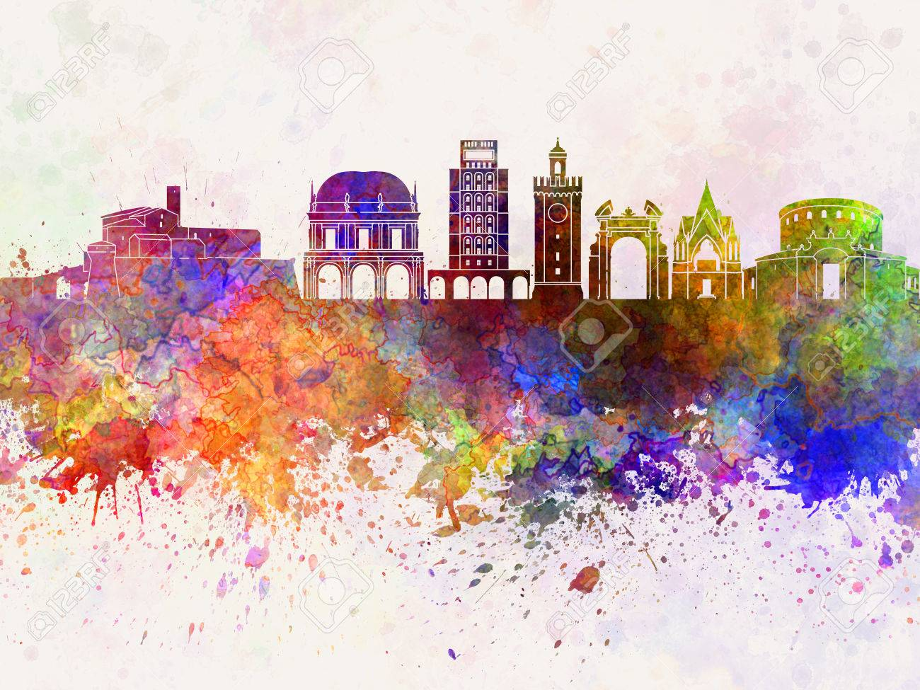 Outline athens skyline with blue buildings and copy space stock vector - Athens Panorama Brescia Watercolor Skyline In Background