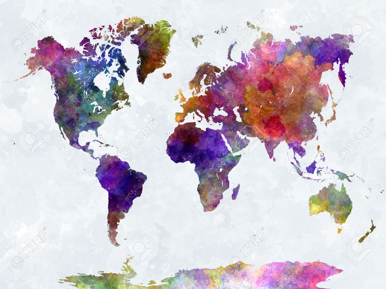 World map in watercolor painting abstract splatters
