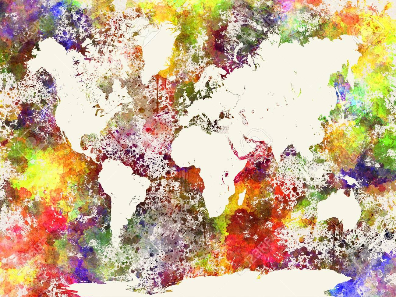 Carte Du Monde Dans La Peinture Abstraite D Aquarelle Eclaboussures Banque D Images Et Photos Libres De Droits Image 41960190