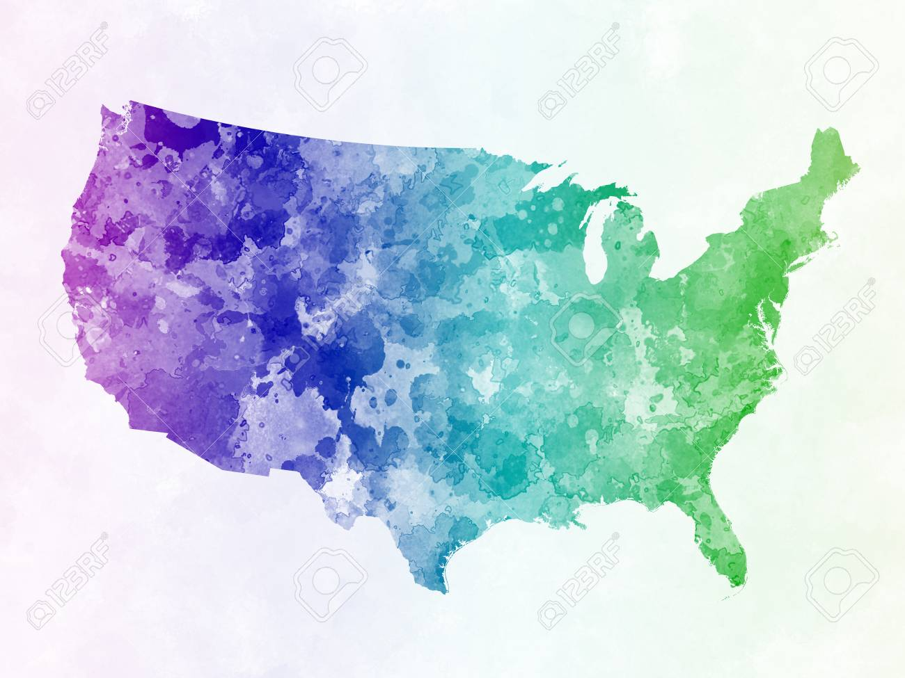 USA Map In Watercolor Painting Abstract Splatters Stock Photo
